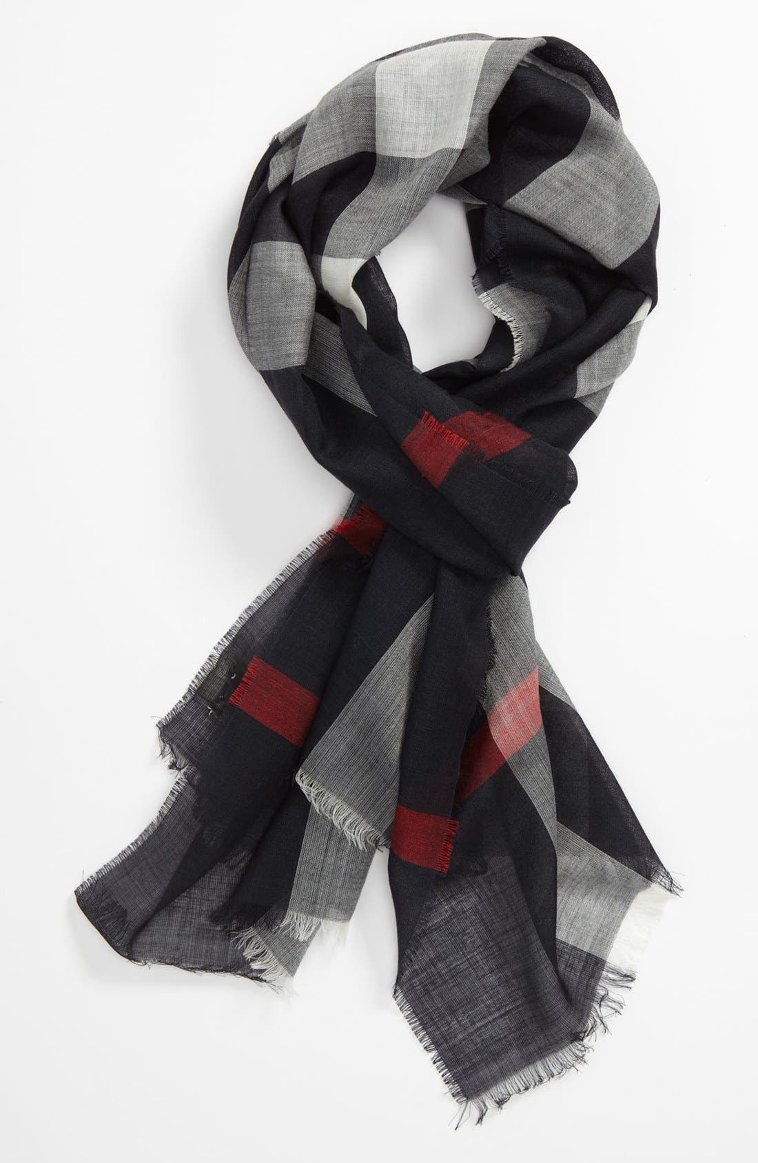 Alternate Image 1 Selected - Burberry Check Gauze Scarf