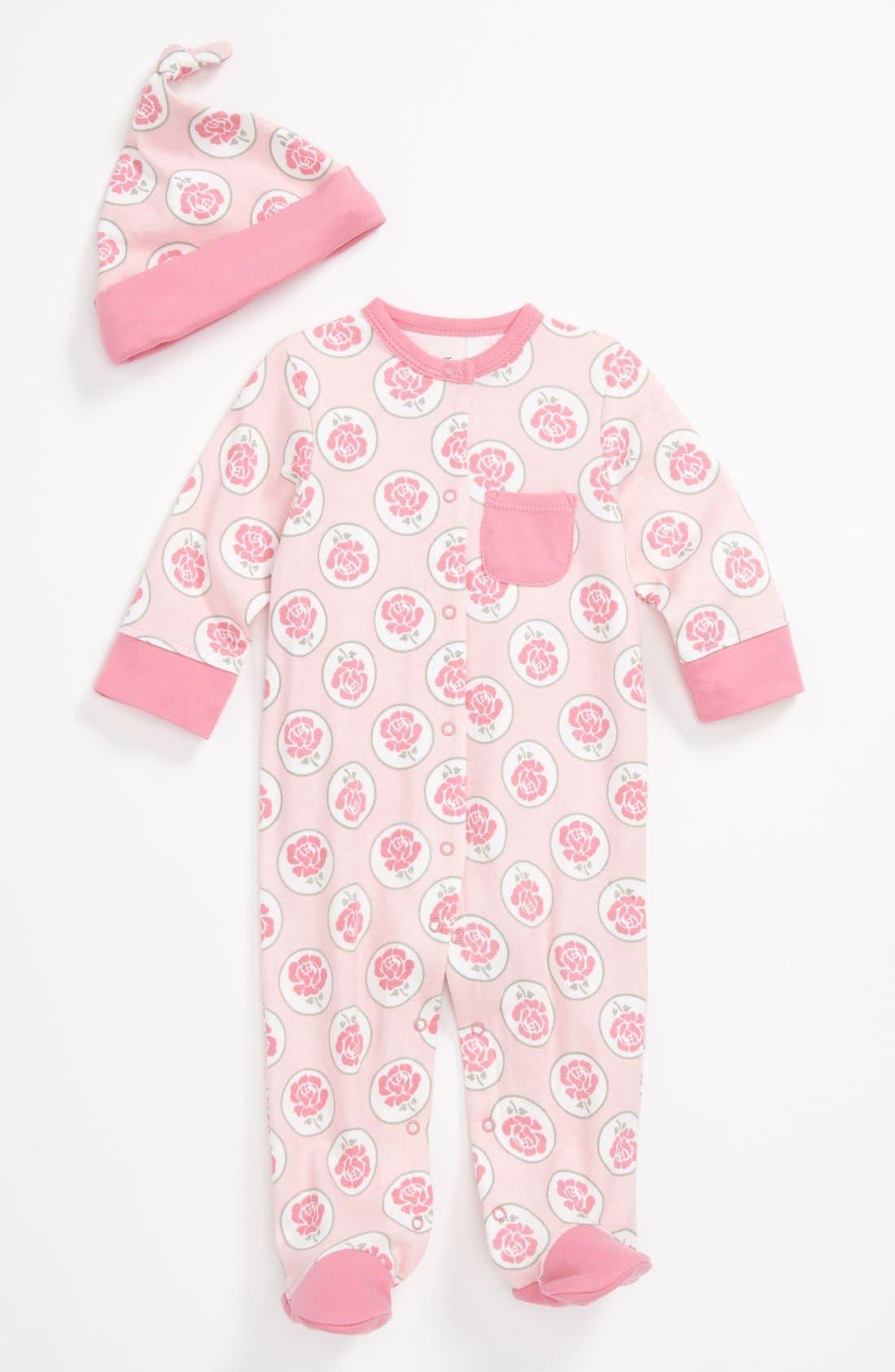 Main Image - Offspring 'Rose Circle' Footie & Hat (Baby)