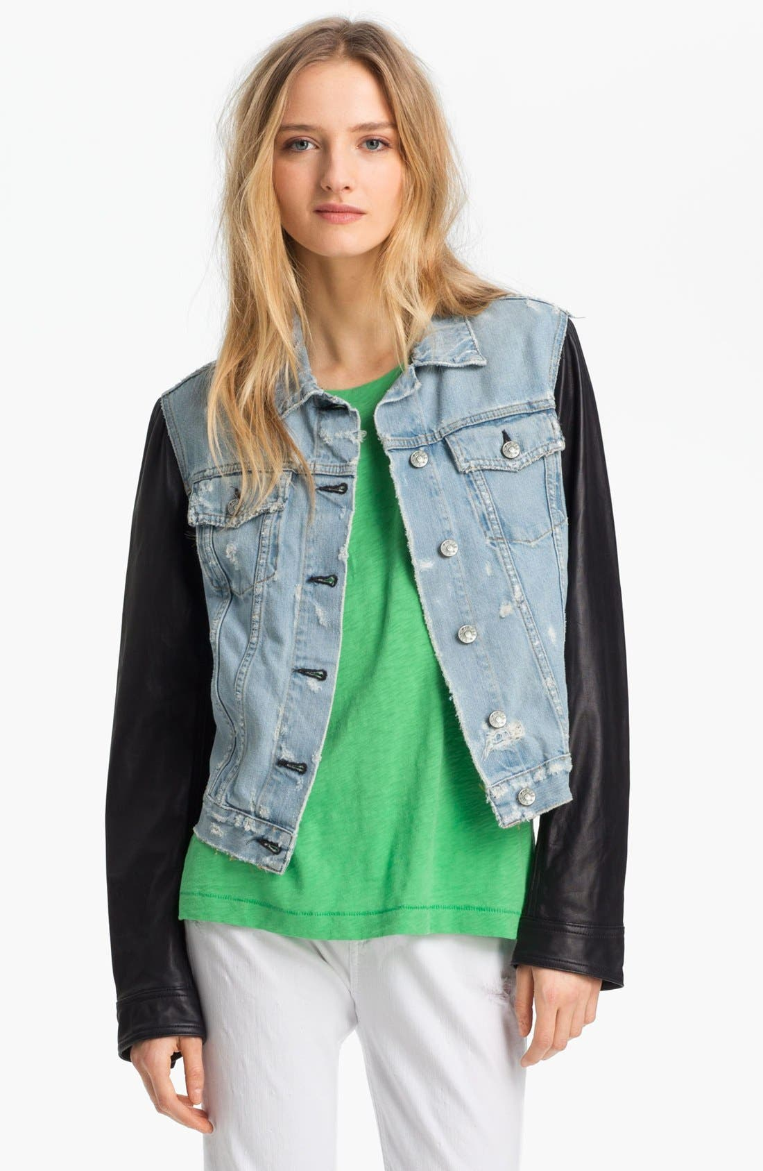 Alternate Image 1 Selected - rag & bone/JEAN Leather & Denim Jacket
