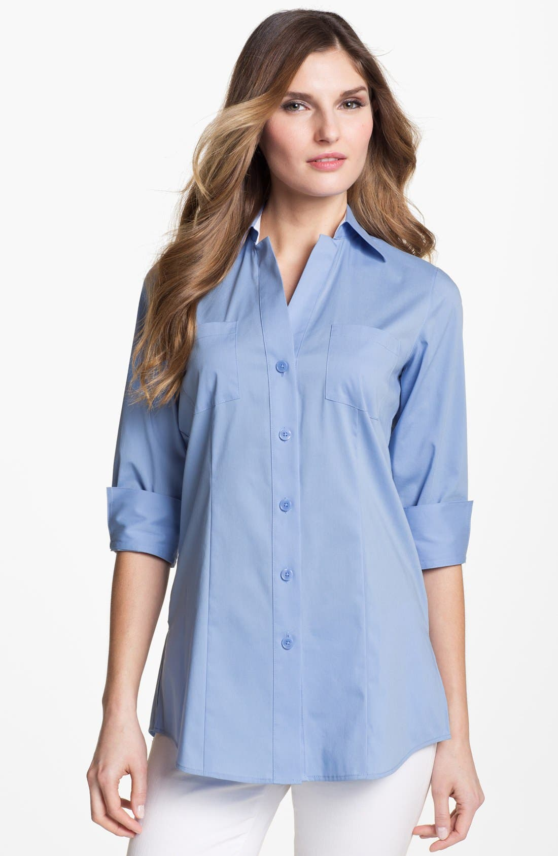 Main Image - Foxcroft Three Quarter Sleeve Shaped Shirt