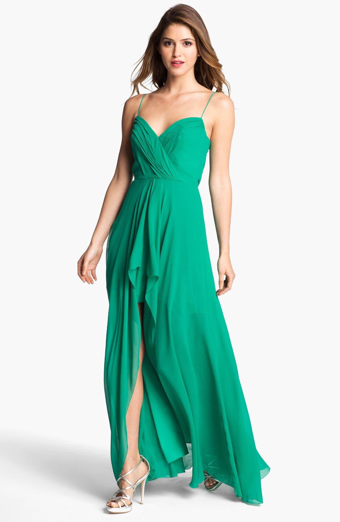 Alternate Image 1  - Nicole Miller Draped High/Low Chiffon Dress