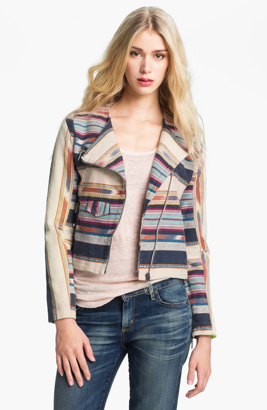 Alternate Image 1 Selected - ELEVENPARIS 'Ekit' Blanket Stripe Biker Jacket