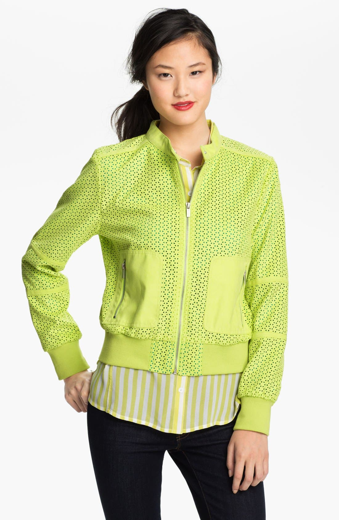 Alternate Image 2  - Kenneth Cole New York Perforated Bomber Jacket