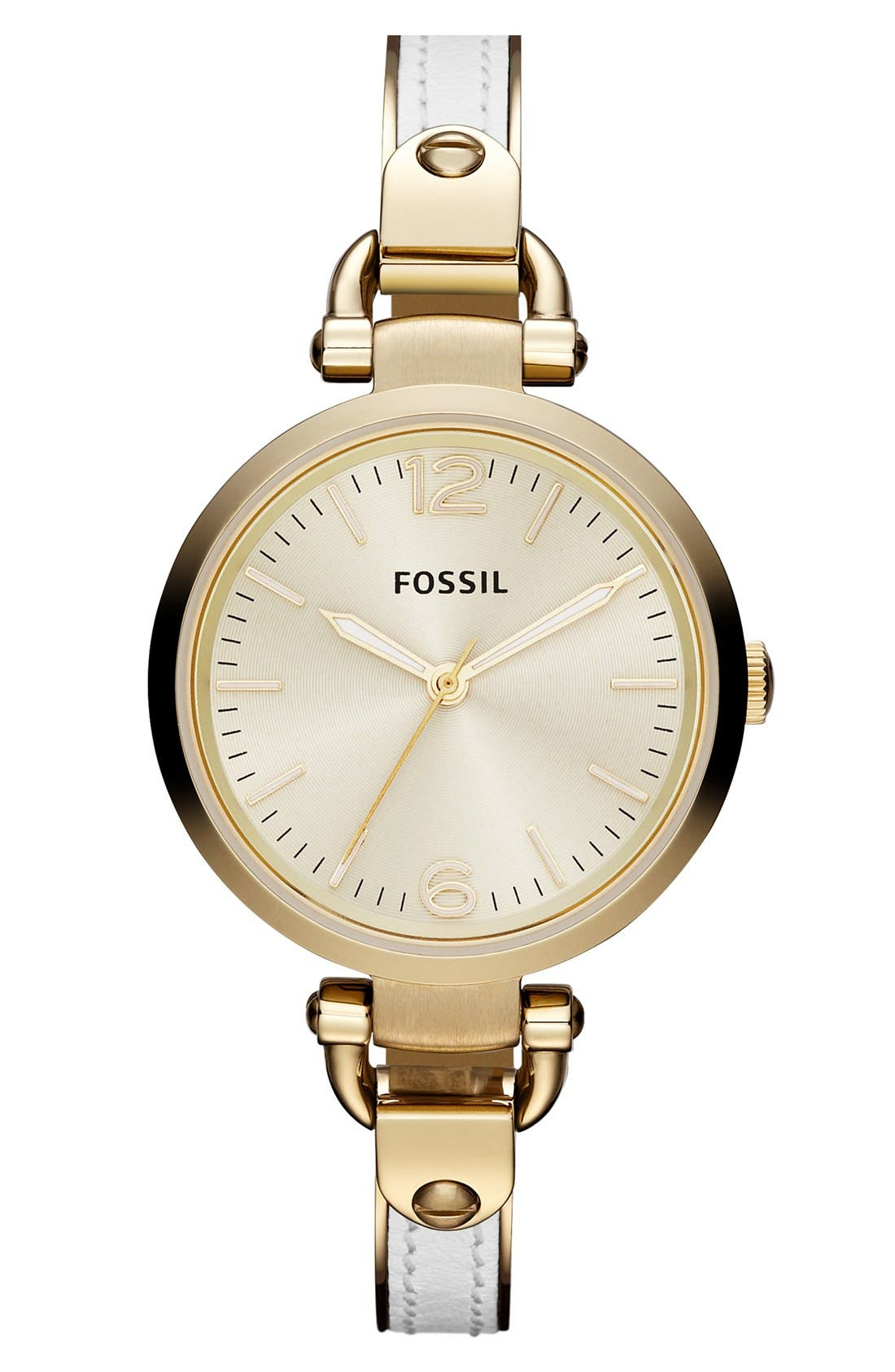Alternate Image 1 Selected - Fossil 'Georgia' Leather Bangle Watch, 32mm