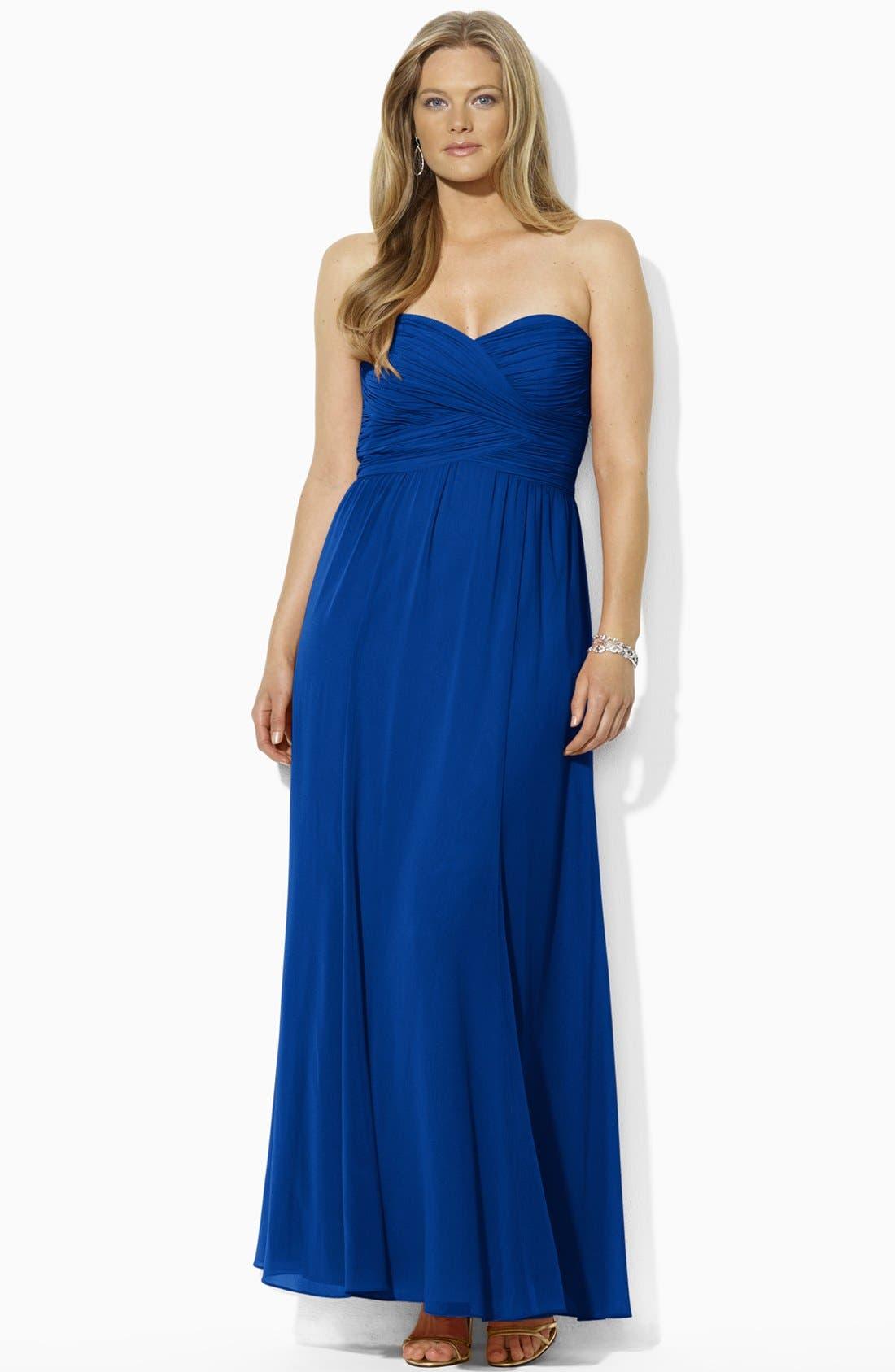 Alternate Image 2  - Lauren Ralph Lauren Strapless Georgette Gown (Plus Size)