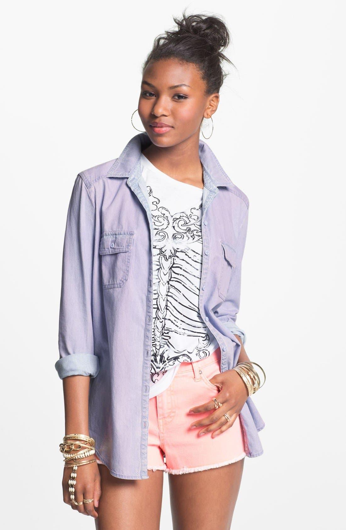 Alternate Image 1 Selected - BP. Overdyed Chambray Shirt (Juniors)