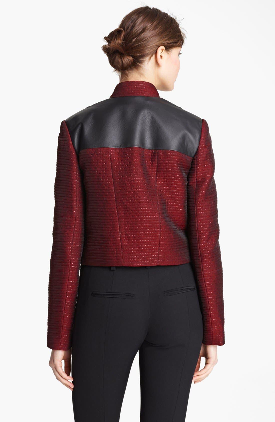 Alternate Image 2  - Jason Wu Organza Tweed & Leather Crop Jacket