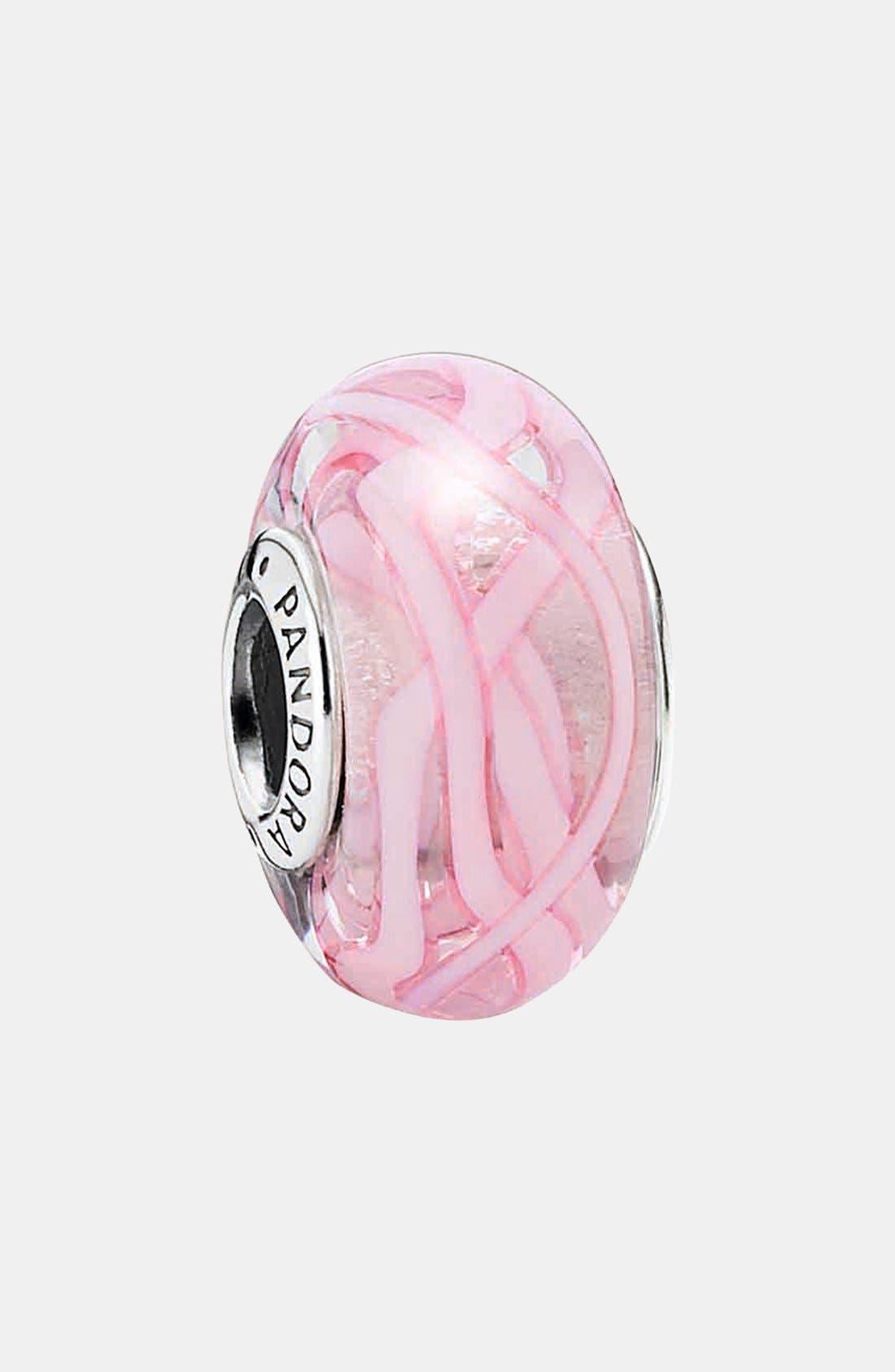 Main Image - PANDORA 'Pink Ribbon of Hope' Murano Glass Charm
