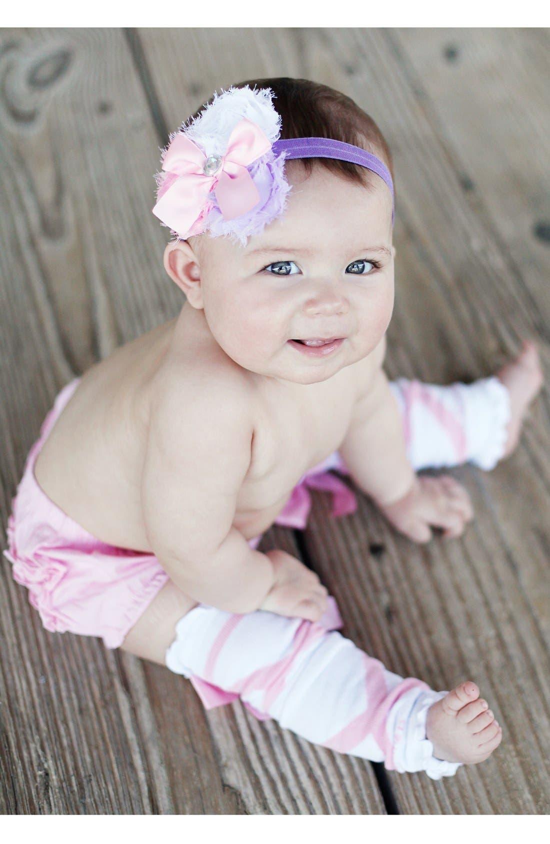 Alternate Image 3  - RuffleButts 'Ballerina' Headband, Bloomers & Leg Warmers (Baby)