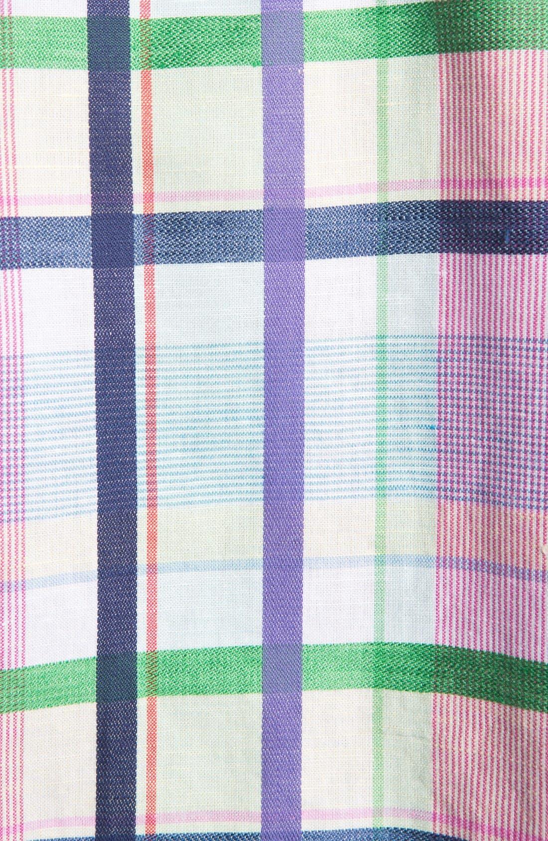 Alternate Image 4  - Bugatchi Check Shaped Fit Linen Blend Sport Shirt