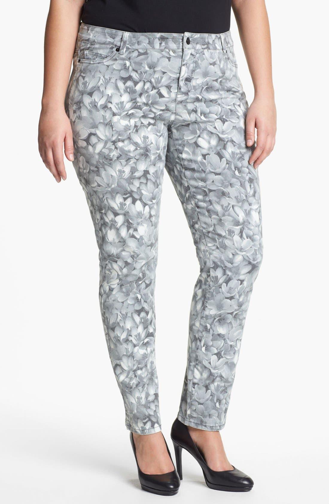 Alternate Image 1 Selected - MICHAEL Michael Kors 'Wildflower' Print Skinny Jeans (Plus)