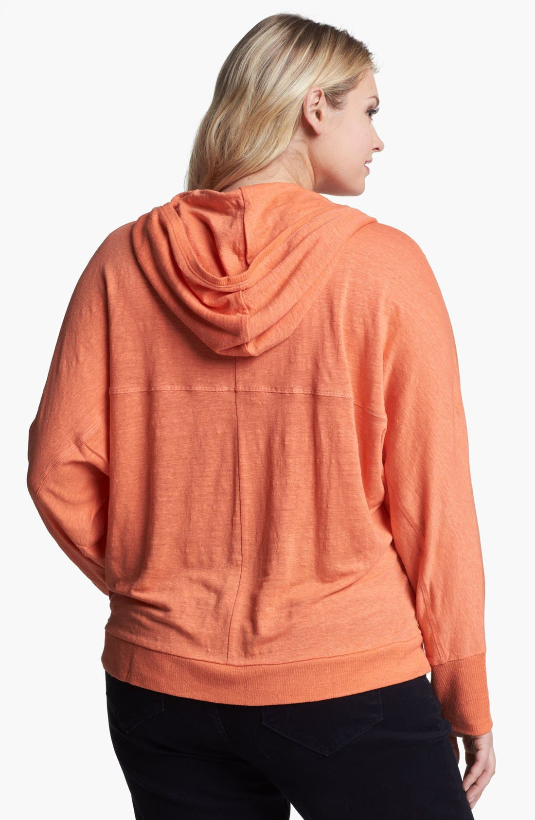 Alternate Image 2  - Eileen Fisher Hooded Linen Cardigan (Plus Size)