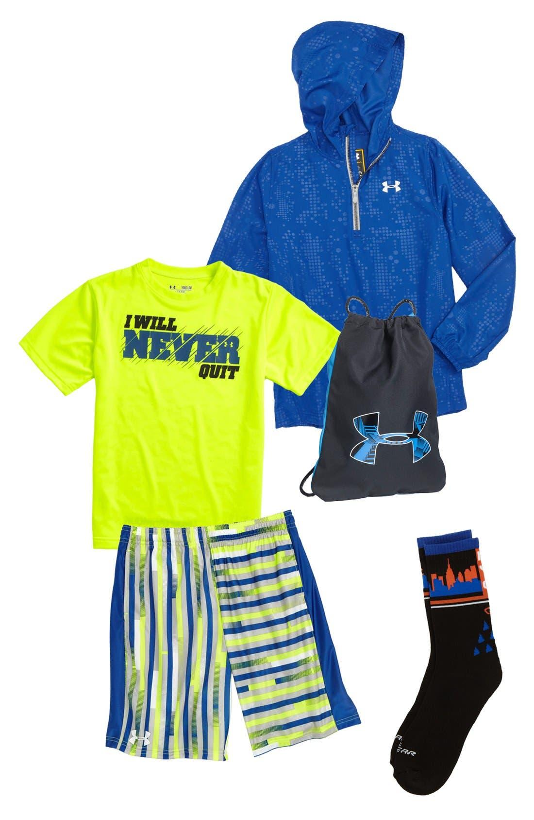 Alternate Image 1 Selected - Under Armour T-Shirt, Hoodie, Shorts, Sackpack & Sneaker (Big Boys)