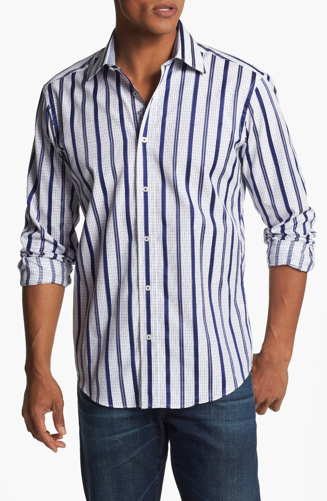 Alternate Image 1 Selected - Bugatchi Striped Shaped Fit Cotton Sport Shirt