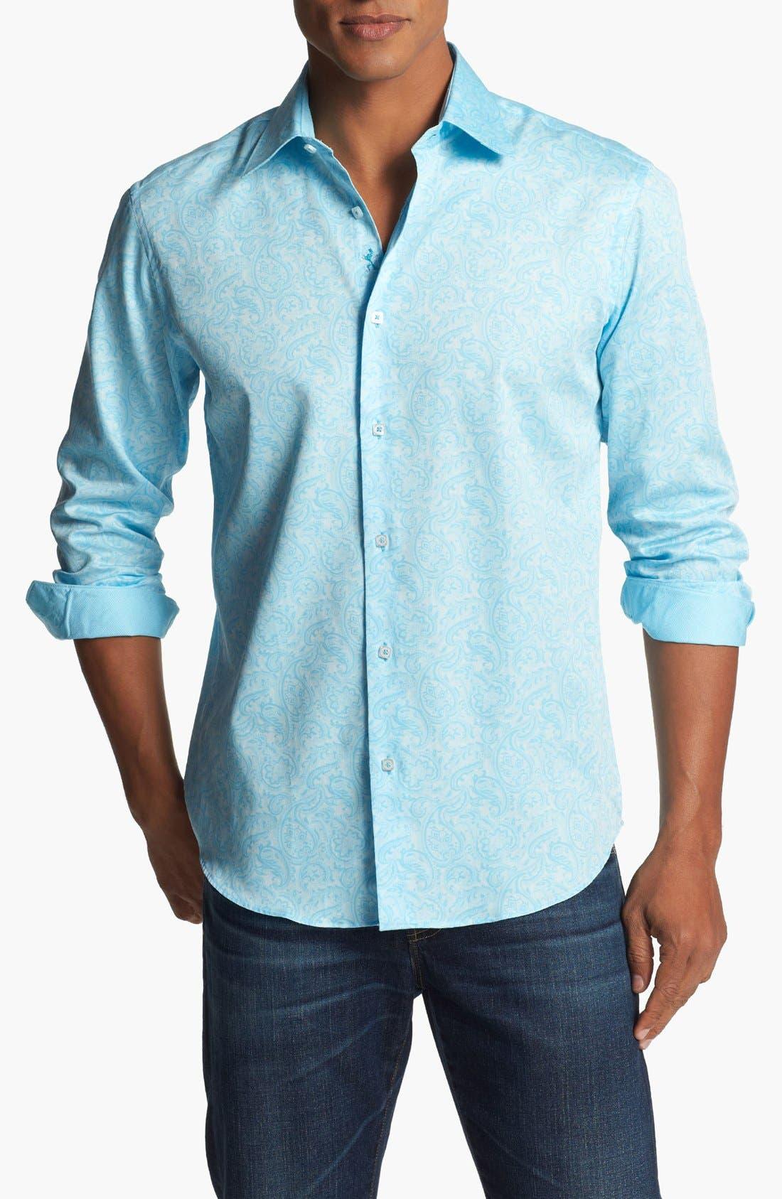 Main Image - Bugatchi Paisley Shaped Fit Cotton Sport Shirt