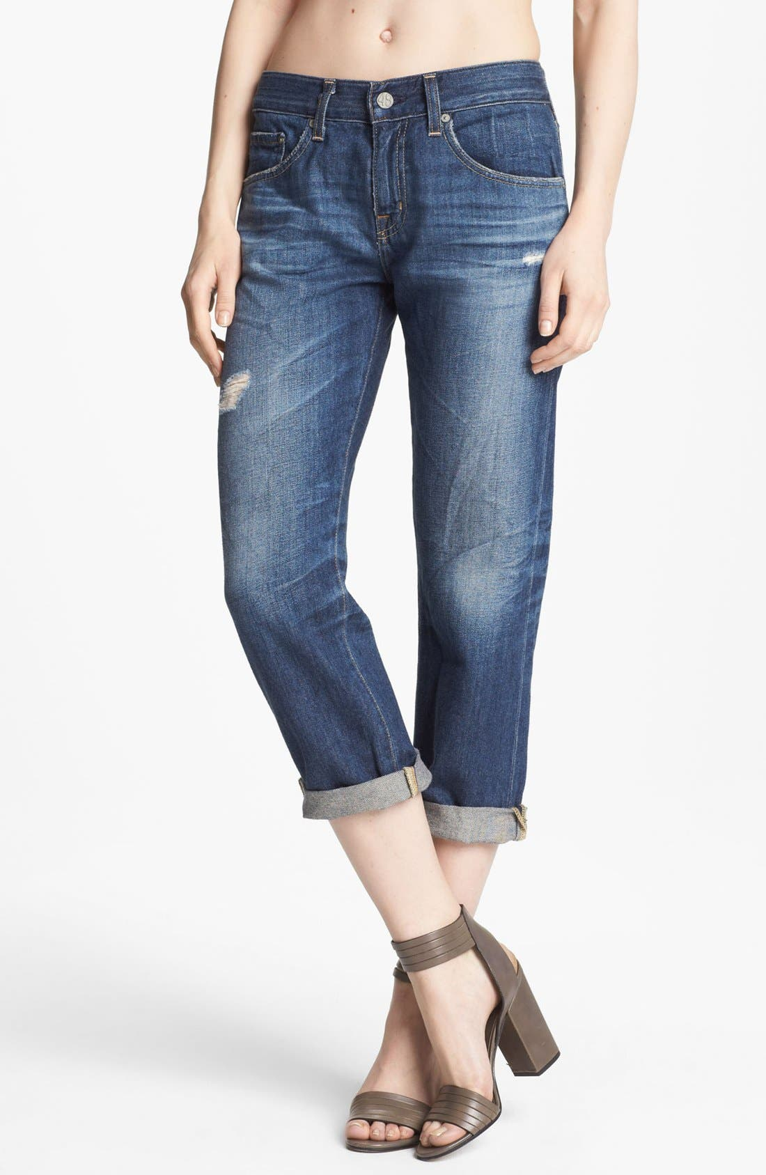 Alternate Image 1 Selected - AG Jeans Ex-Boyfriend Crop Jeans (8-Year Destroyed)