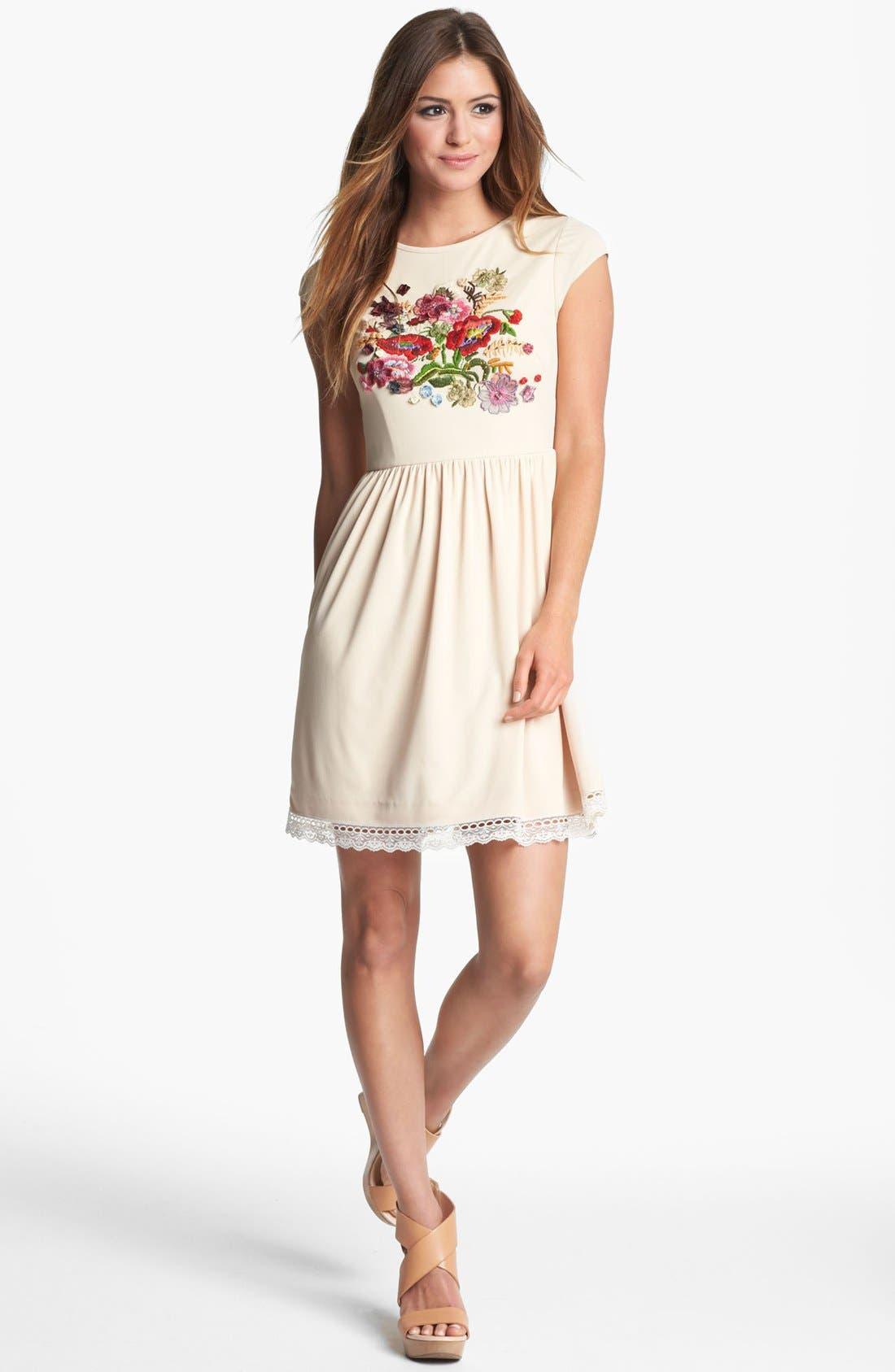 Main Image - LABEL by five twelve Floral Appliqué Fit & Flare Dress