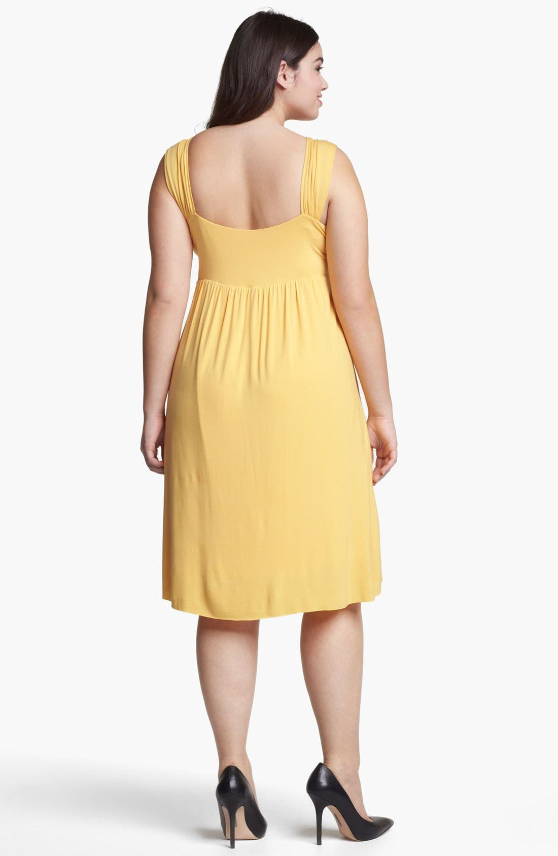 Alternate Image 2  - Kische Gathered Front Drape Jersey Dress (Plus Size)