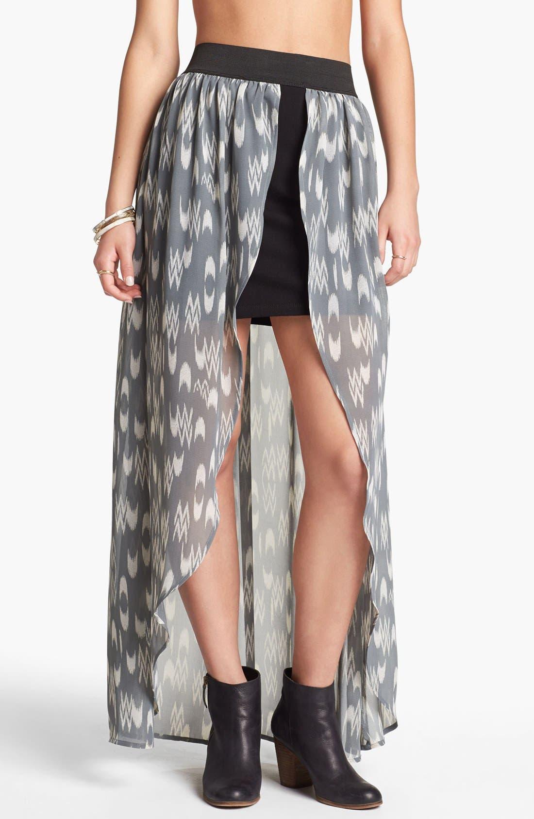 Main Image - Mimi Chica Chiffon Overlay Maxi Skirt (Juniors)