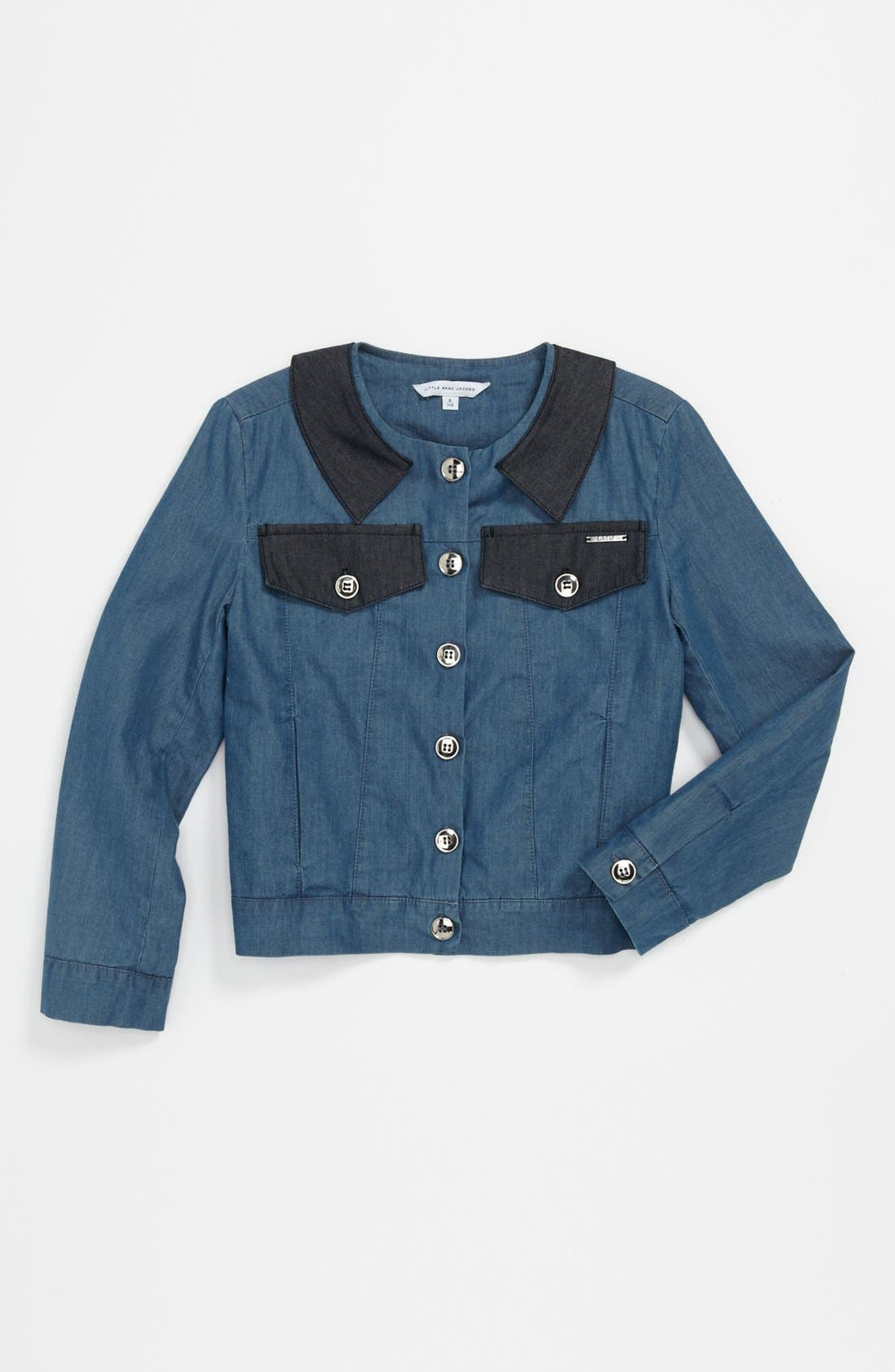 Alternate Image 1 Selected - LITTLE MARC JACOBS Chambray Jacket (Little Girls & Big Girls)