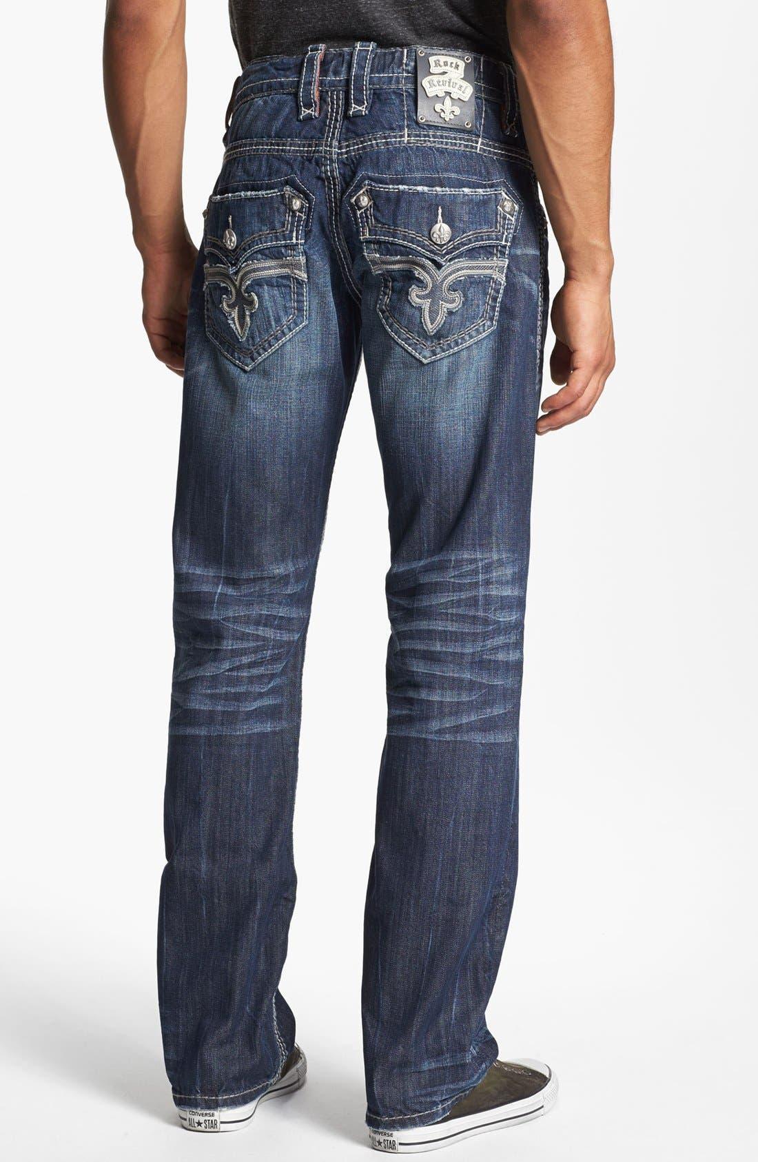 Alternate Image 1 Selected - Rock Revival 'Dan' Straight Leg Jeans (Dark Blue)