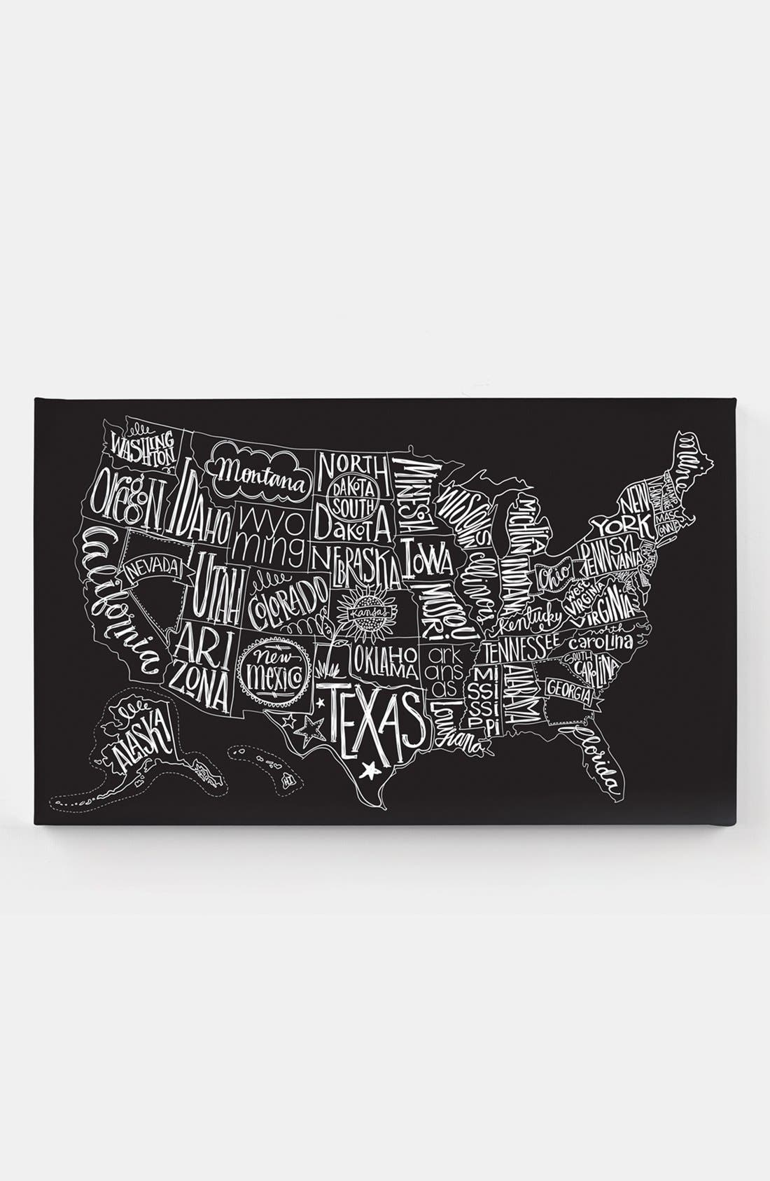 Alternate Image 1 Selected - Basic Grey 'Black Tie - US Map' Canvas Wall Art