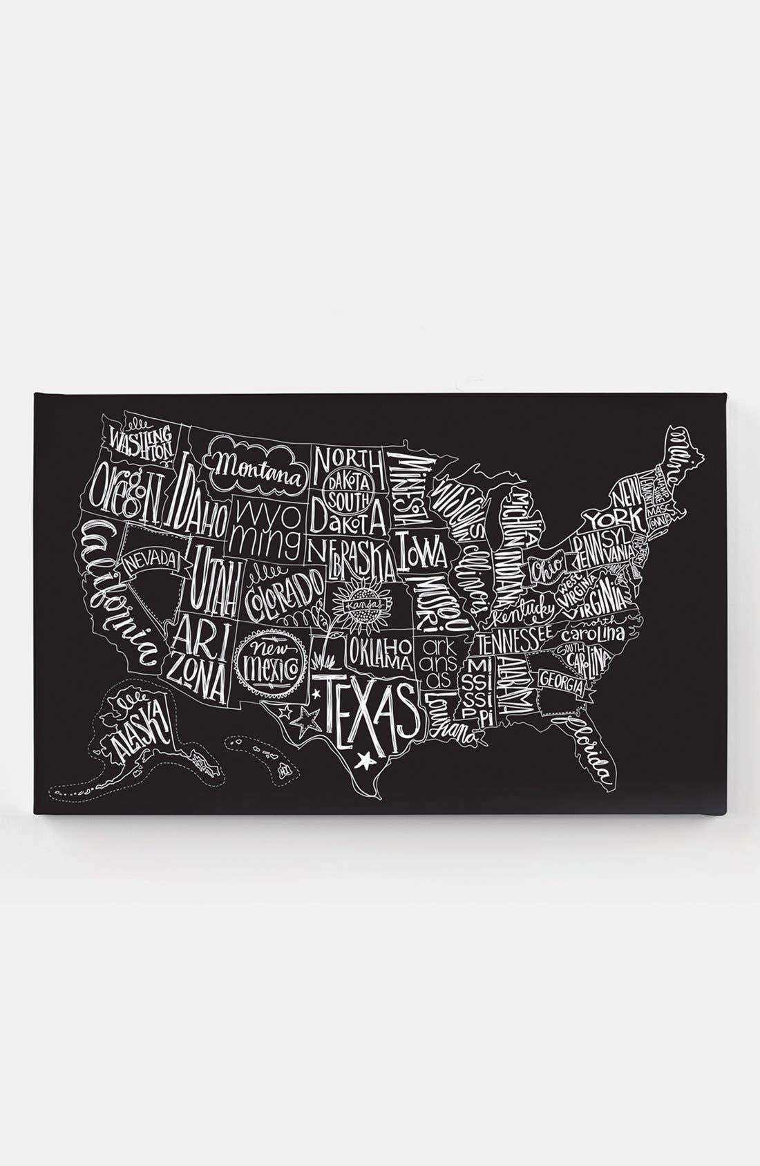 Main Image - Basic Grey 'Black Tie - US Map' Canvas Wall Art