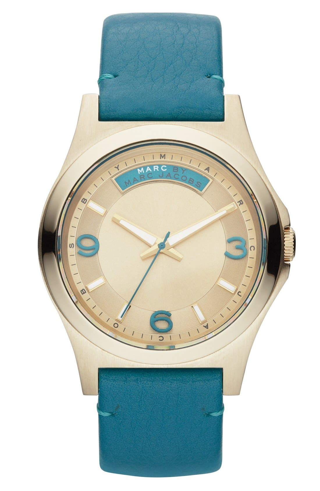 Alternate Image 1 Selected - MARC BY MARC JACOBS 'Baby Dave' Leather Strap Watch, 40mm