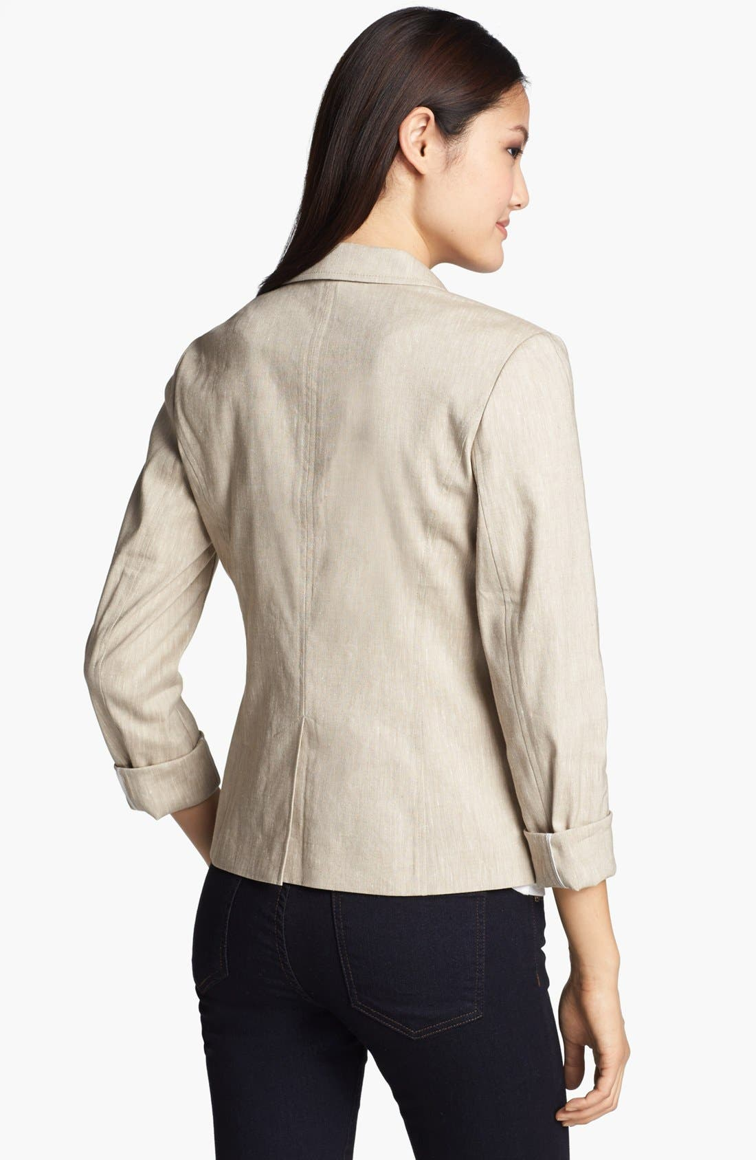 Alternate Image 2  - Halogen® Linen Blend Blazer (Regular & Petite)