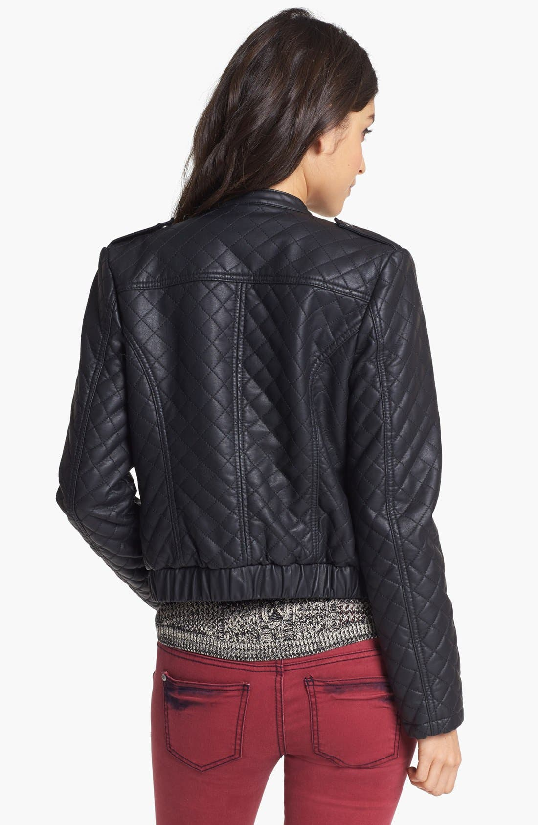 Alternate Image 2  - Collection B Quilted Faux Leather Bomber Jacket (Juniors)