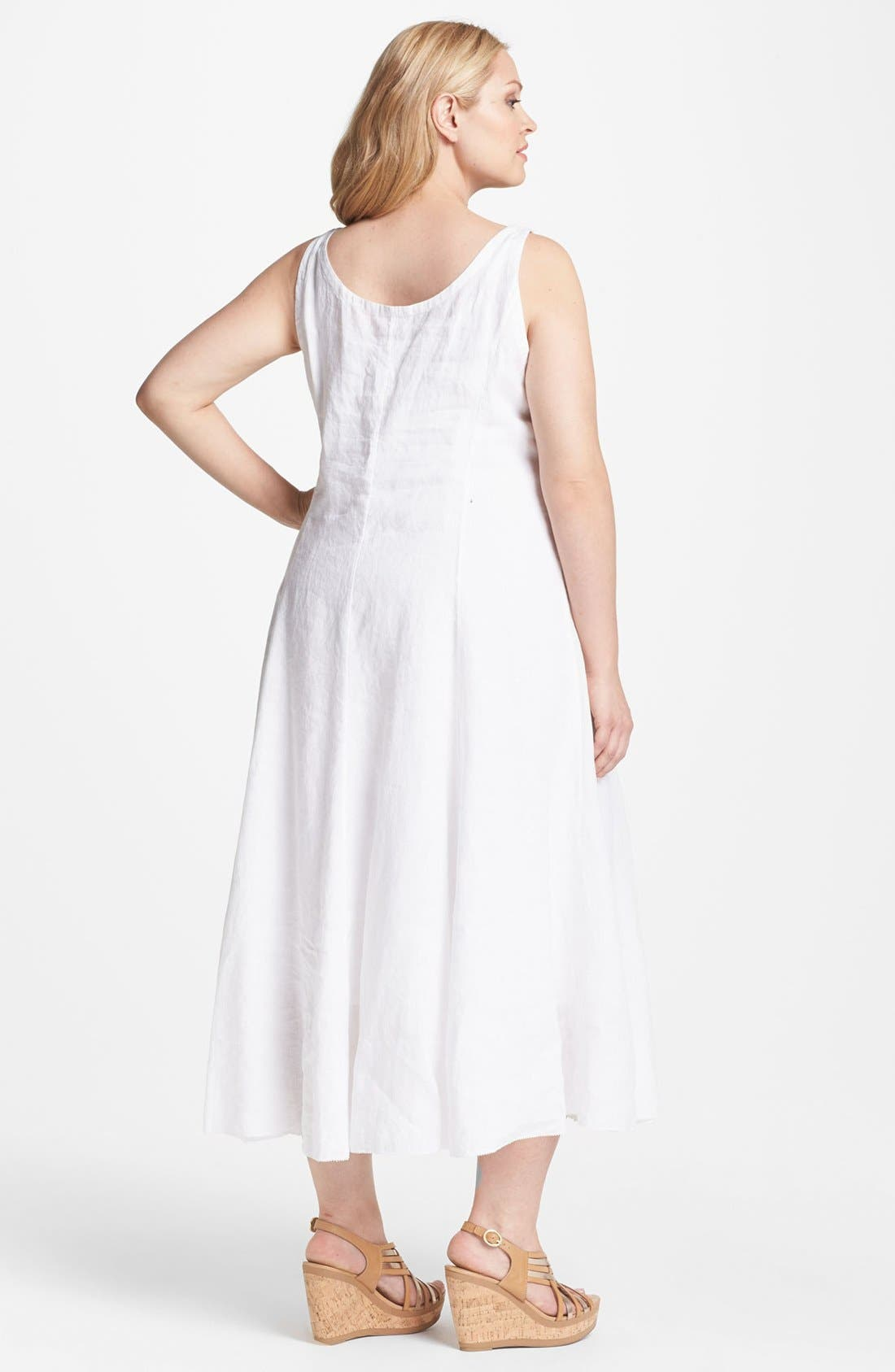 Alternate Image 2  - Eileen Fisher Sleeveless A-Line Midi Dress (Plus Size)