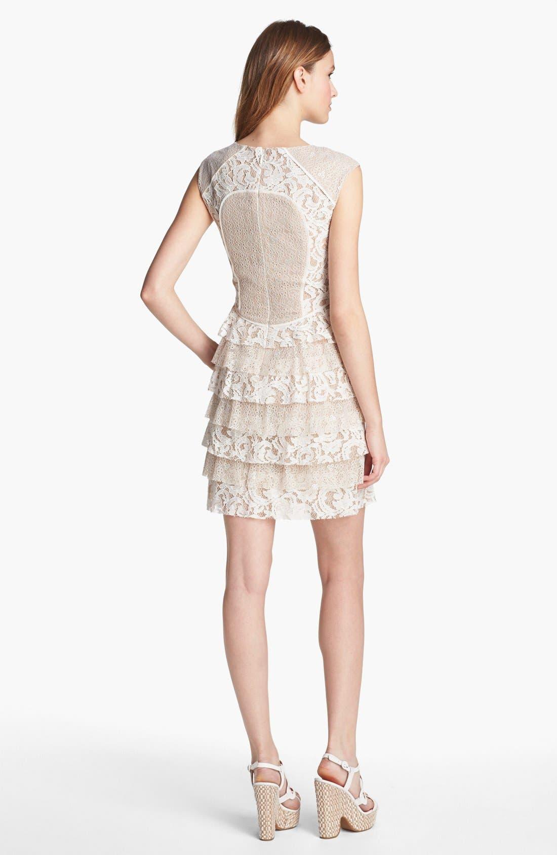 Alternate Image 2  - BCBGMAXAZRIA Lace Panel Ruffle Dress (Petite)