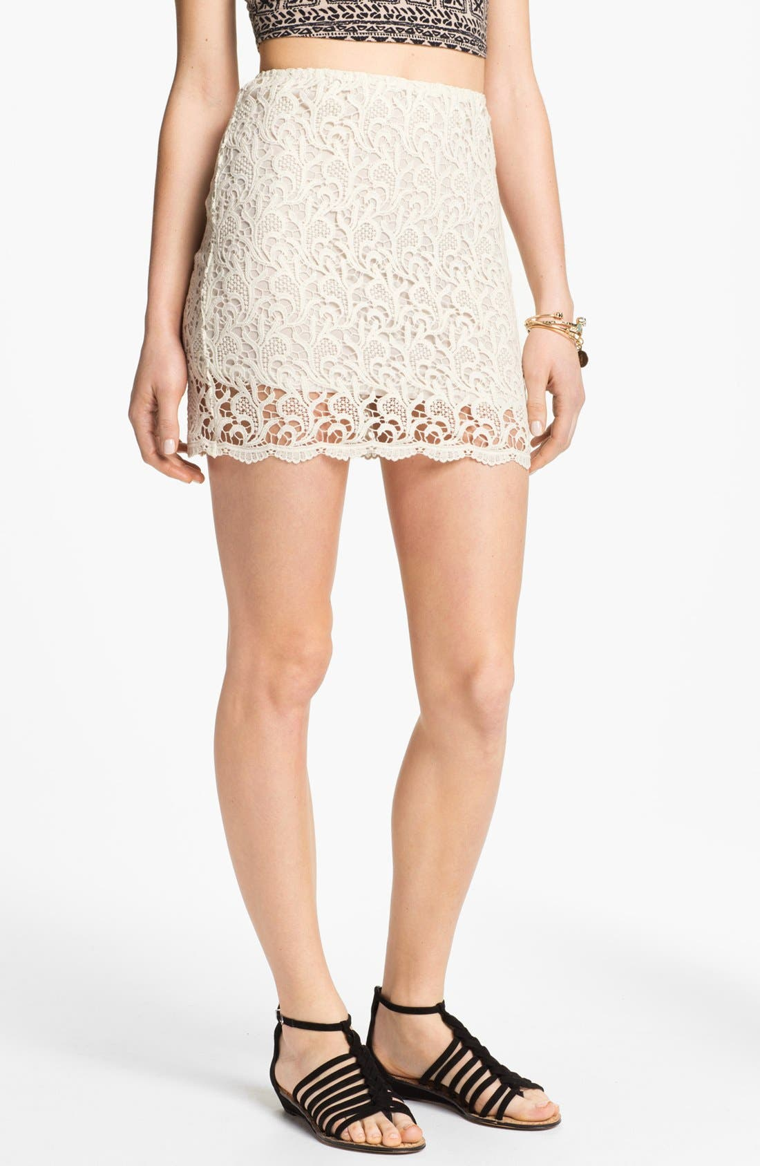 Alternate Image 1 Selected - Blu Pepper Paisley Lace Miniskirt (Juniors)