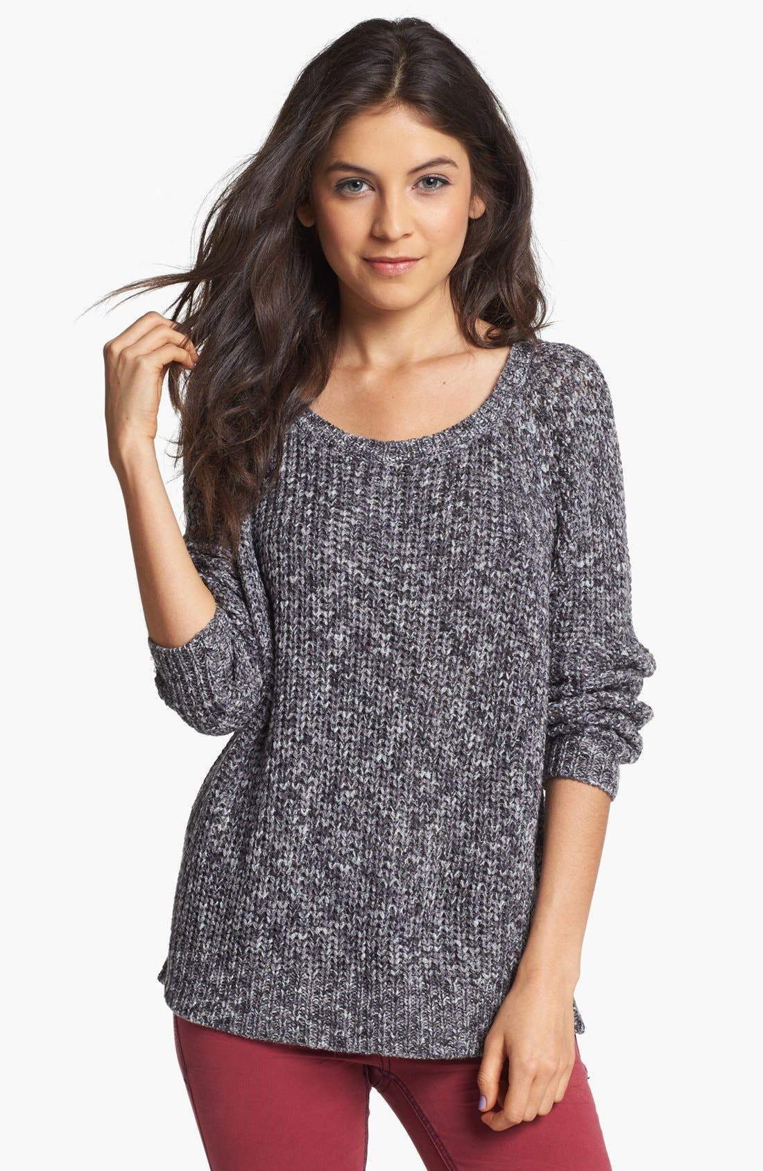 Alternate Image 1 Selected - Rubbish® Marled Relaxed Sweater (Juniors)