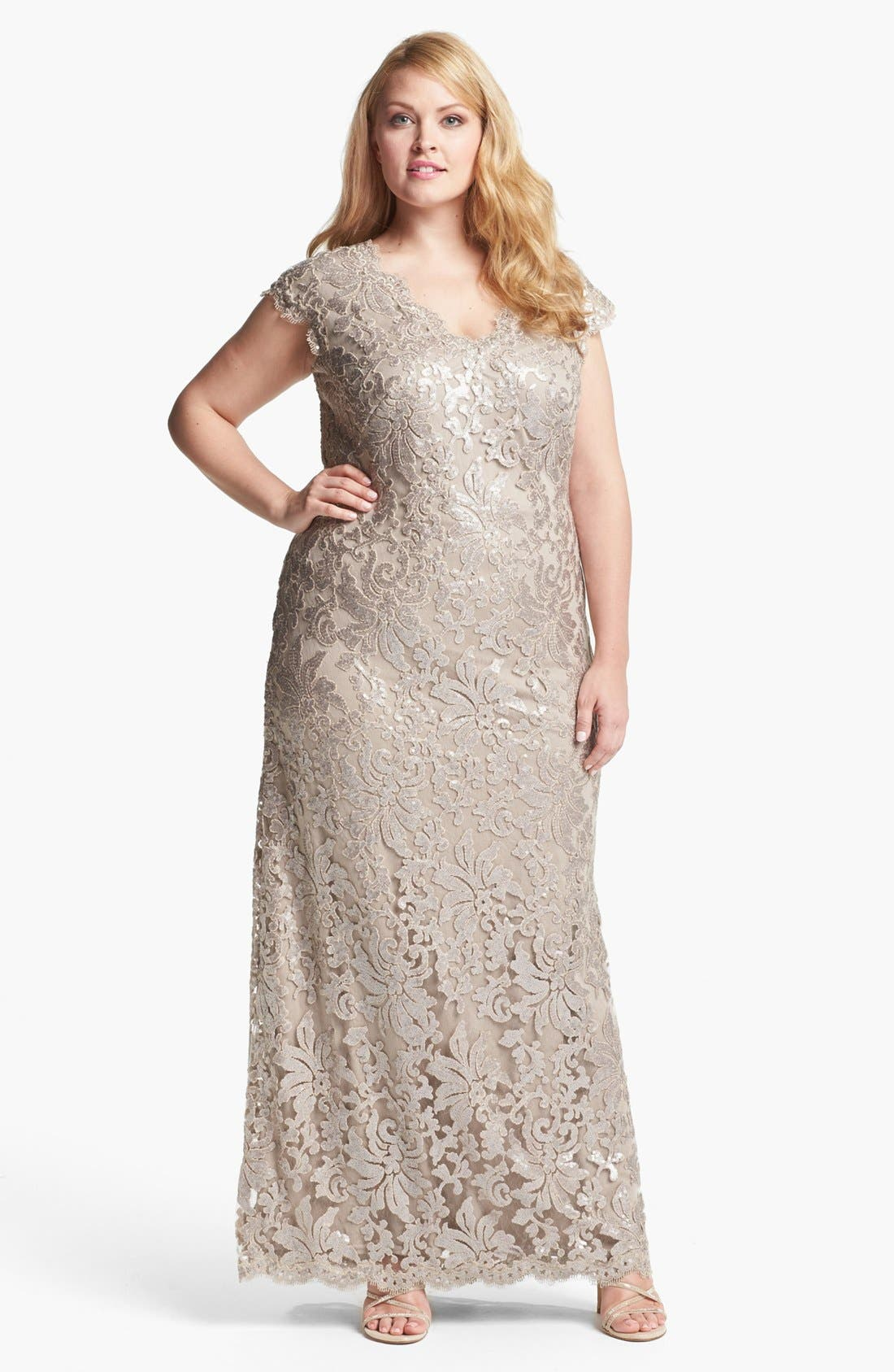 Alternate Image 1 Selected - Tadashi Shoji V-Neck Lace Gown (Plus Size)