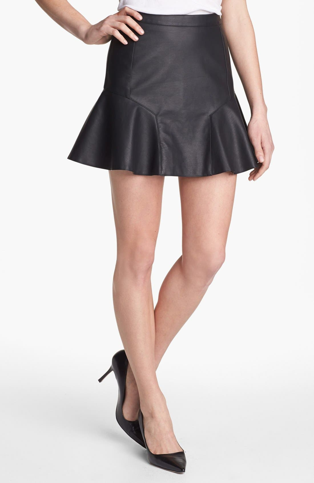 Main Image - Remain Fluted Faux Leather Skirt