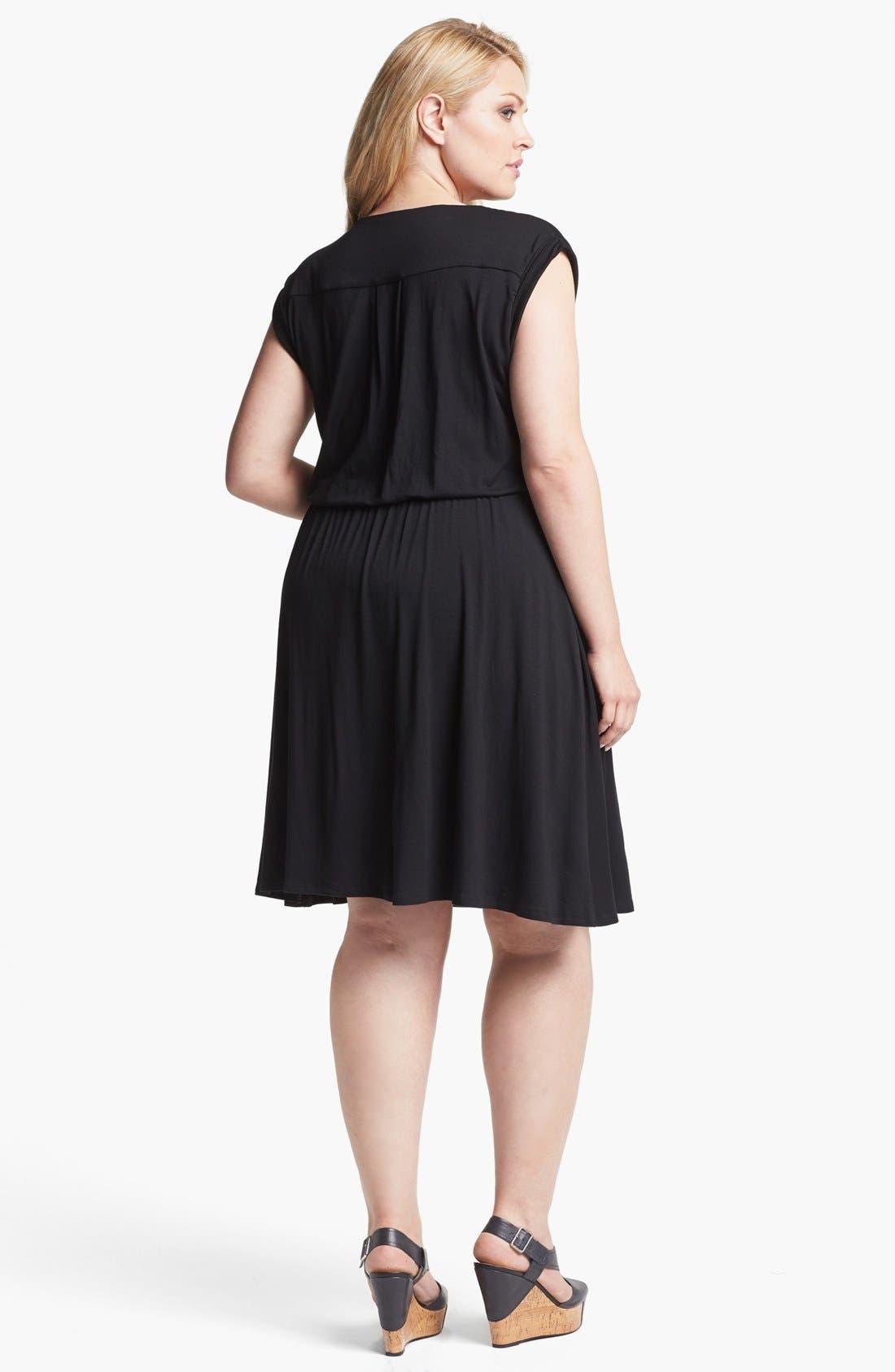 Alternate Image 2  - Olivia Moon Striped Jersey Dress (Plus Size)