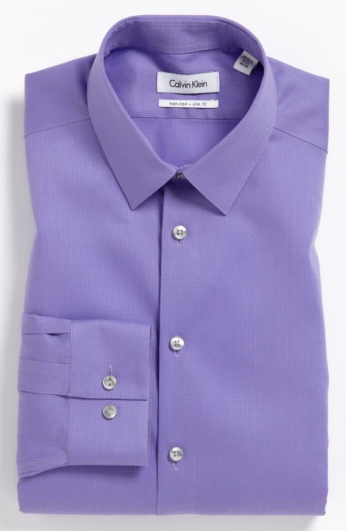 Calvin klein 39 miami check 39 slim fit non iron dress shirt for Slim fit non iron shirts
