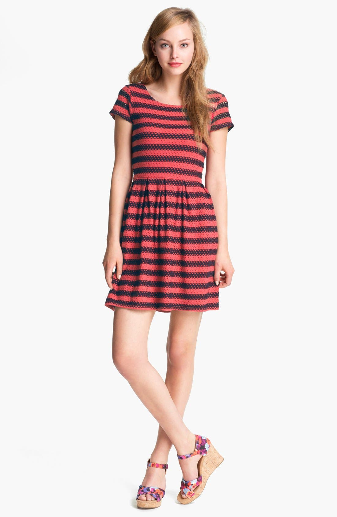 Alternate Image 1 Selected - Eight Sixty Eyelet Stripe Dress (Online Only)