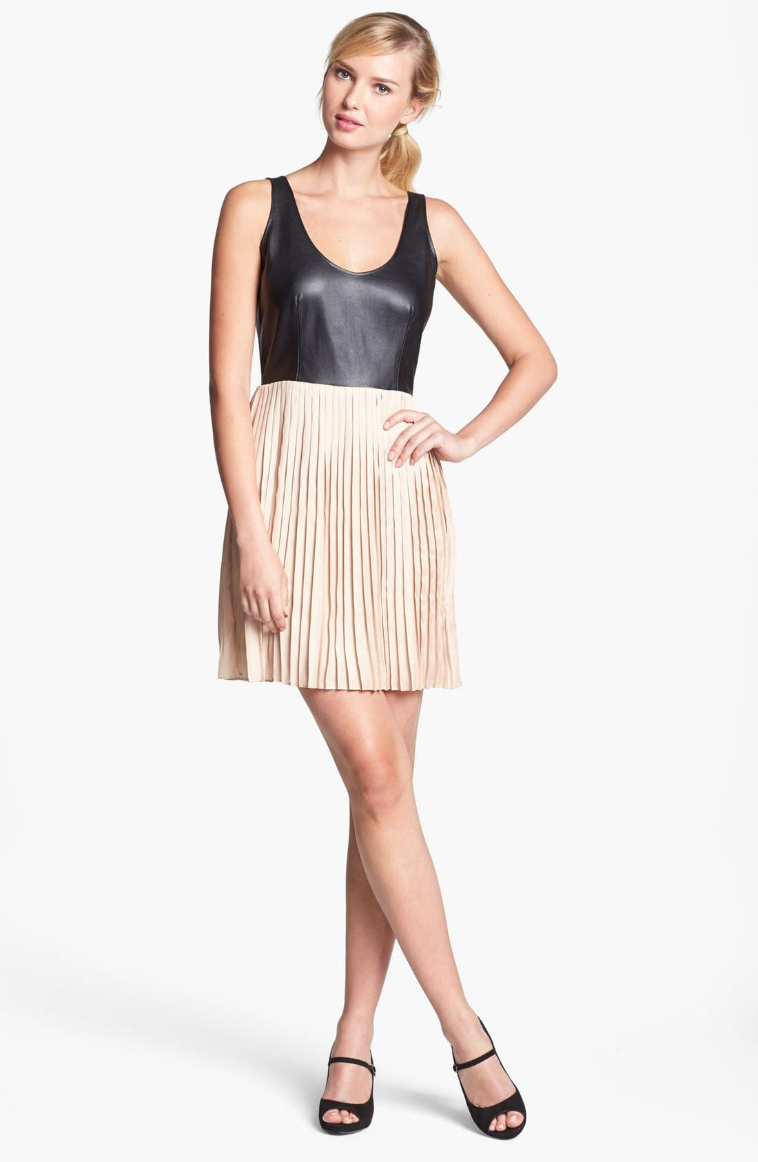 Main Image - BB Dakota Faux Leather Bodice & Pleated Skirt Dress (Online Only)