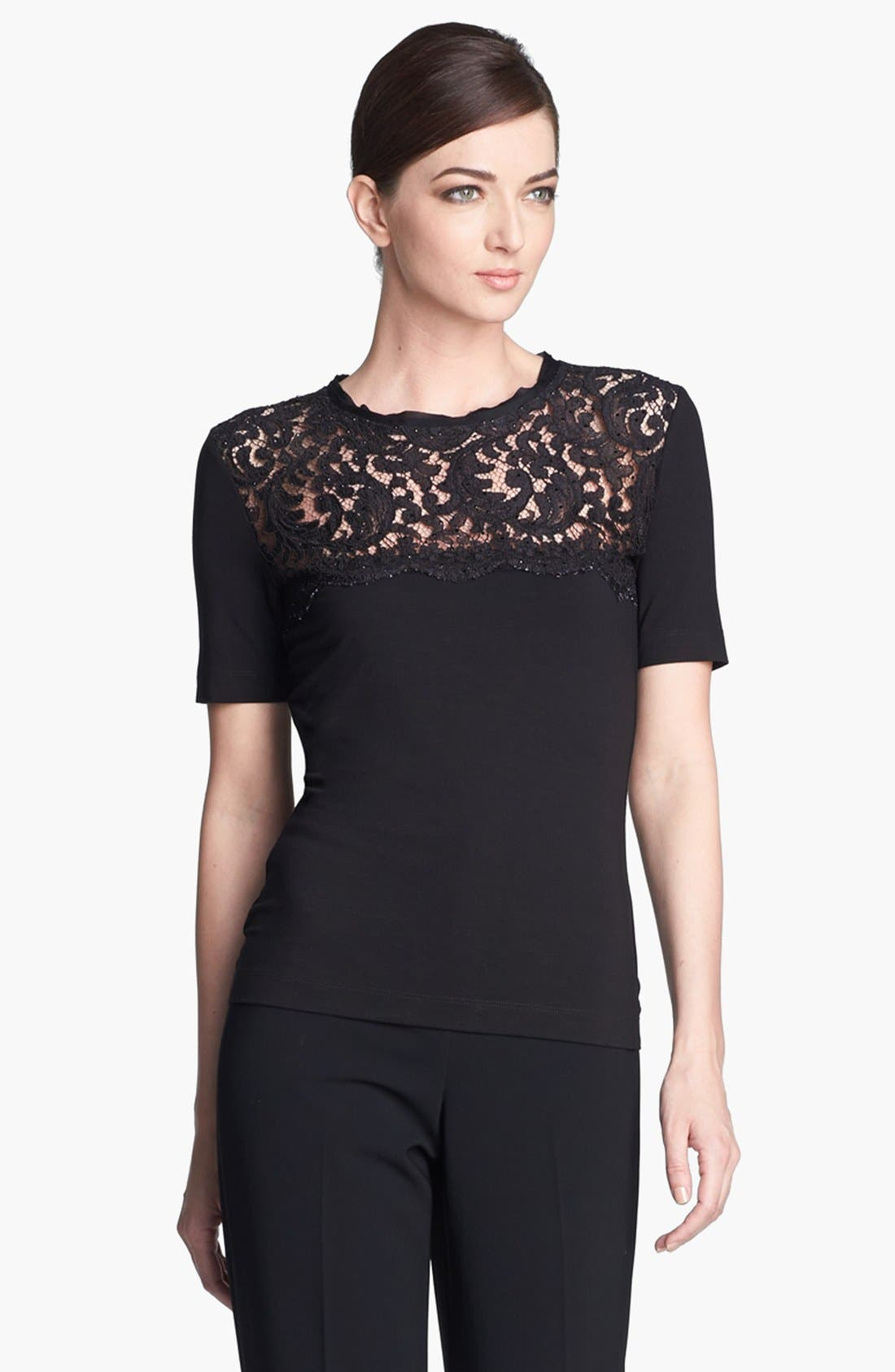 Main Image - St. John Collection Plume Lace & Jersey Tee