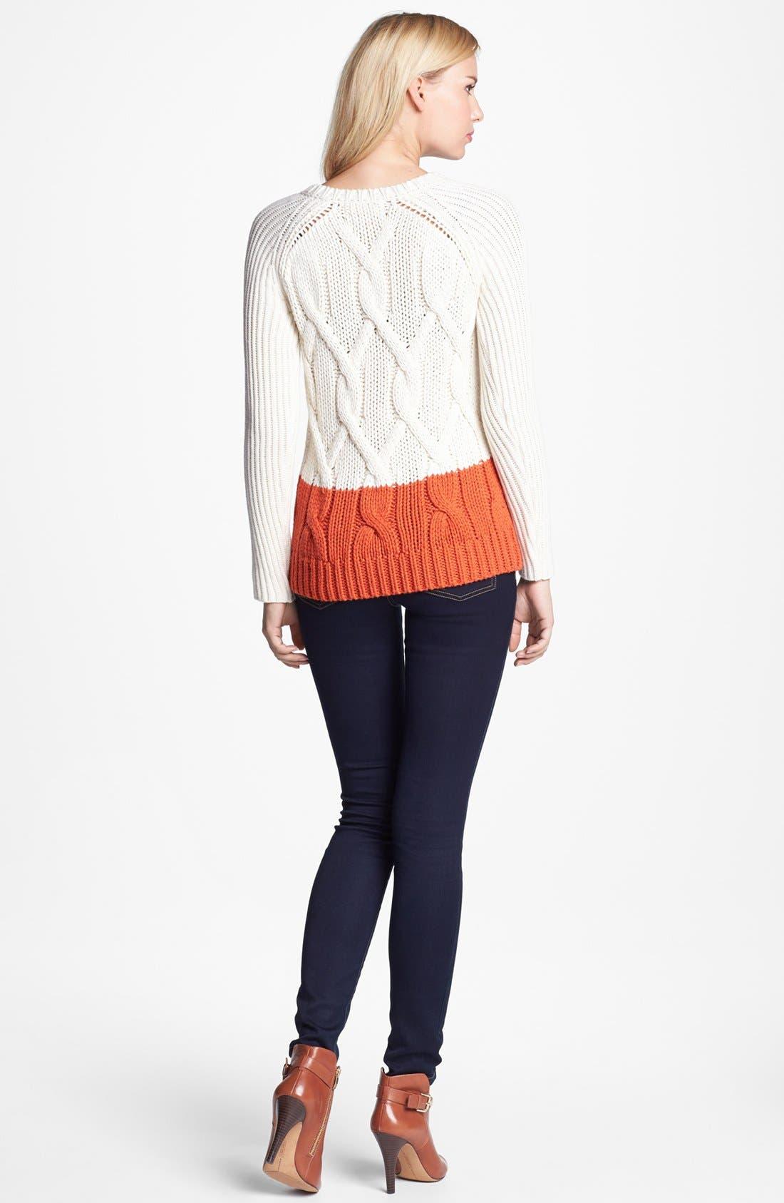 Alternate Image 1 Selected - MICHAEL Michael Kors Colorblock Sweater & Skinny Jeans