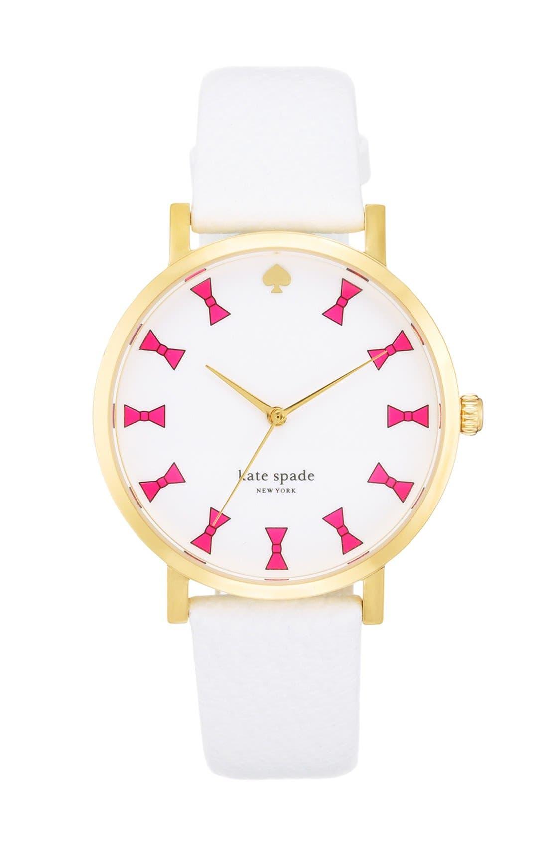 Main Image - kate spade new york 'metro grand' bow dial watch, 38mm
