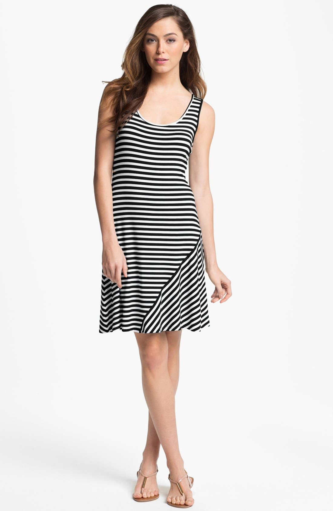 Alternate Image 1 Selected - Calvin Klein Stripe Tank Dress