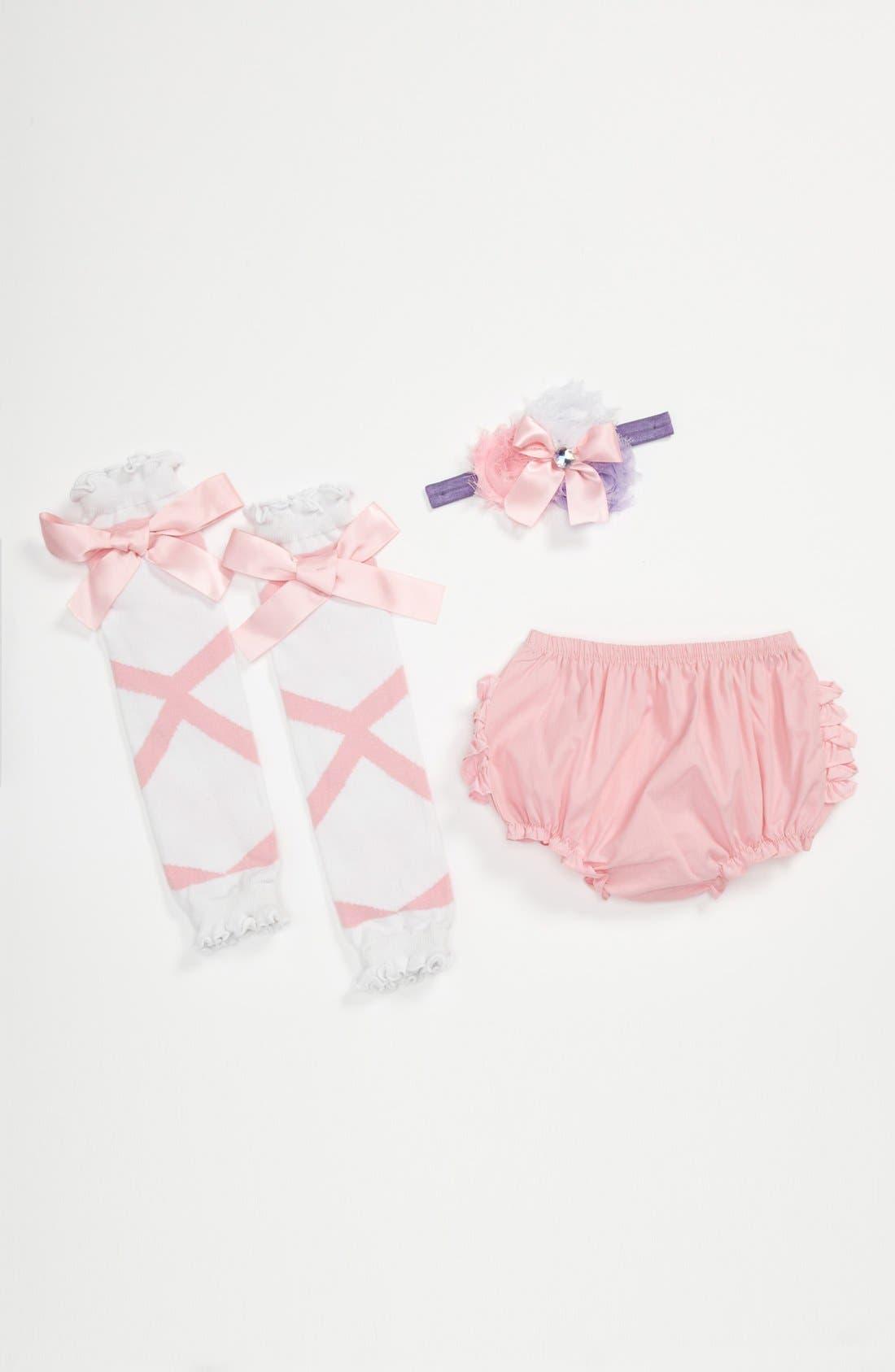 Main Image - RuffleButts 'Ballerina' Headband, Bloomers & Leg Warmers (Baby)