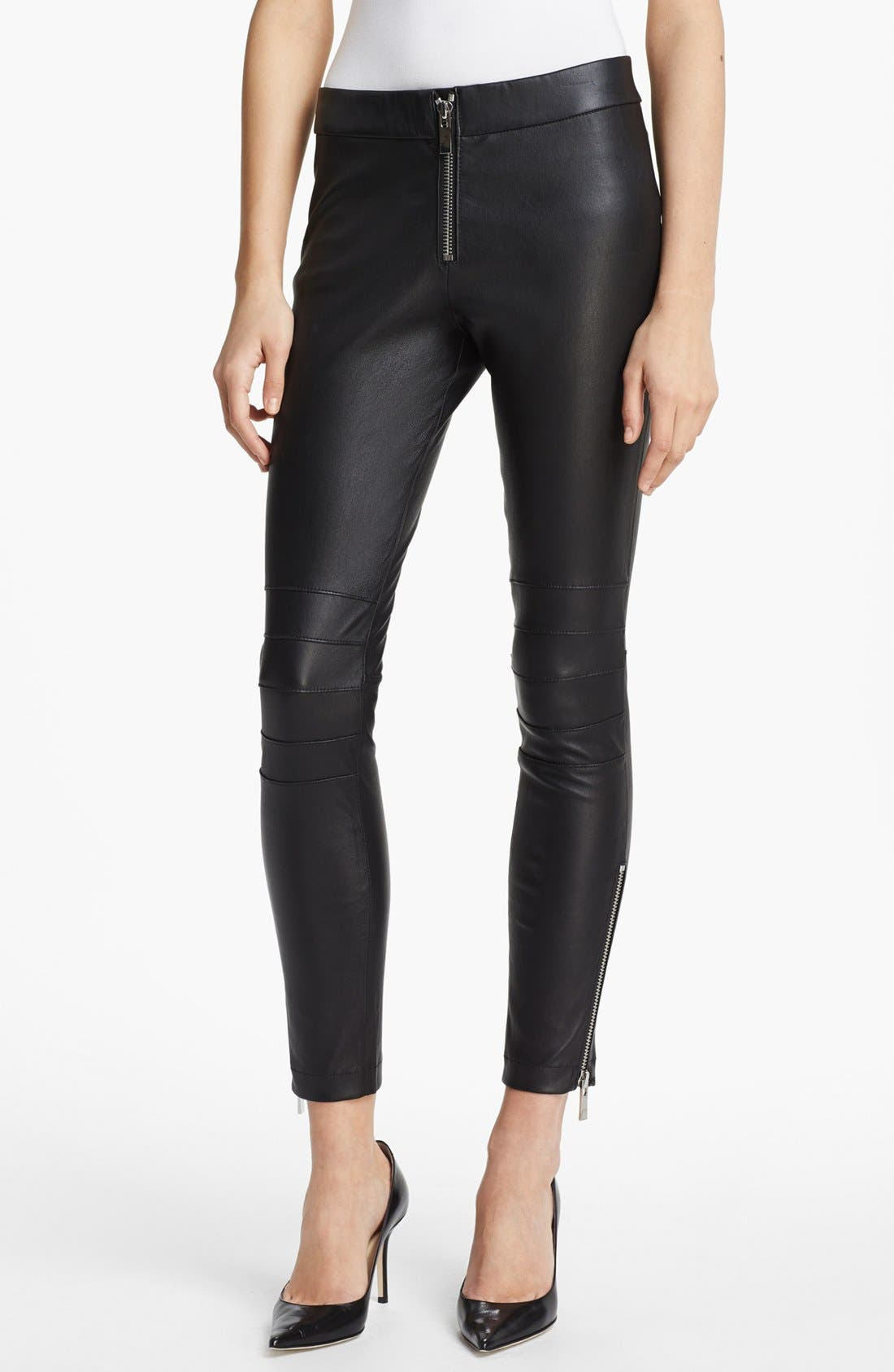 Main Image - Elizabeth and James 'Addison' Lambskin Leather Moto Pants