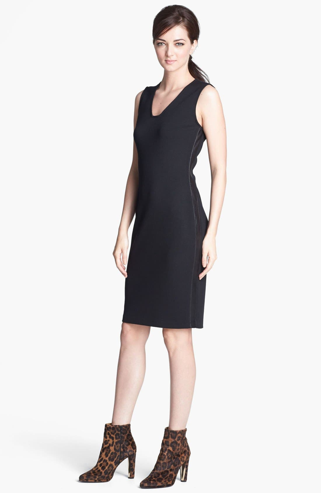 Alternate Image 1 Selected - St. John Collection Leather Trim Milano Knit Dress