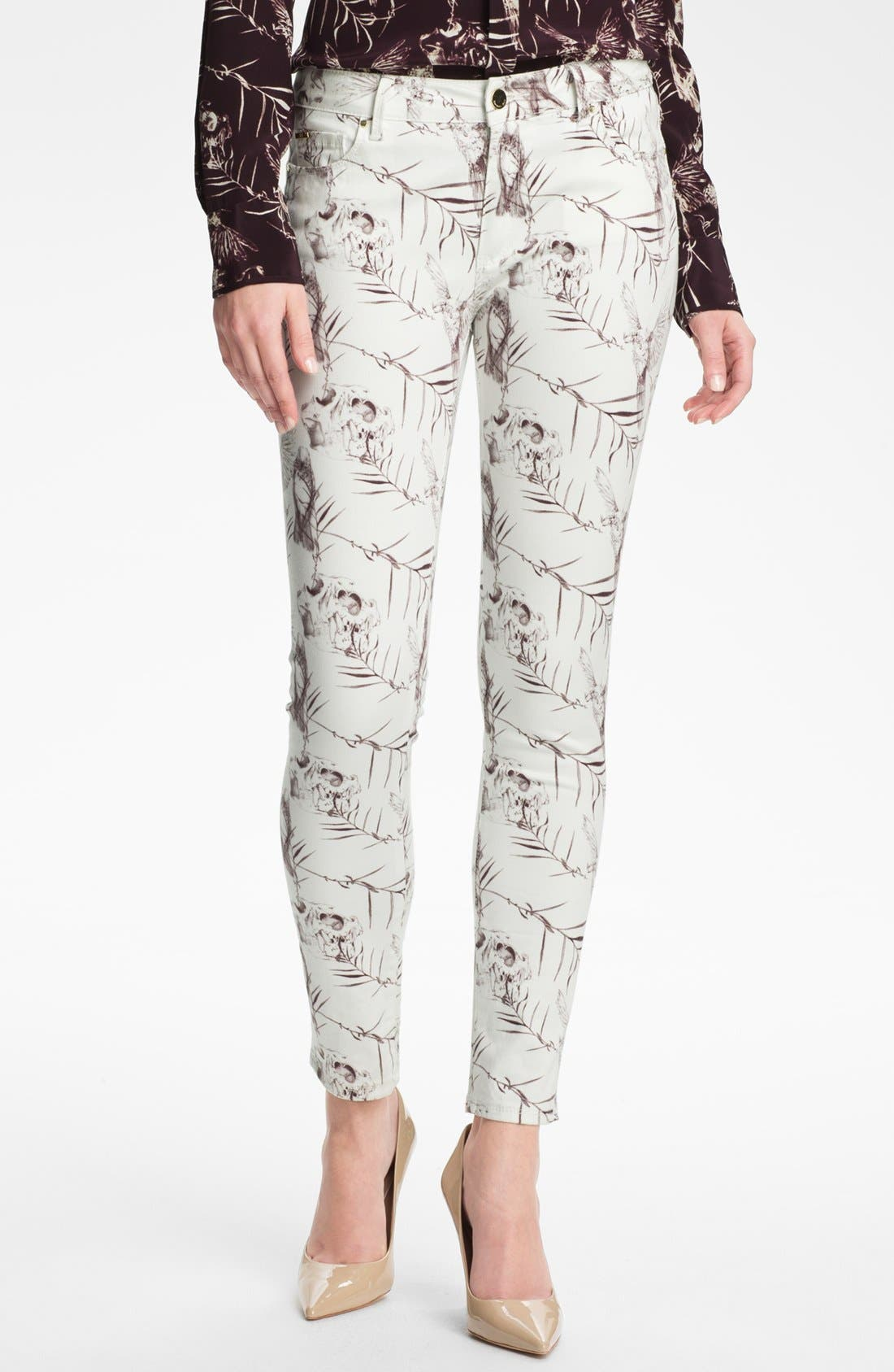 Main Image - Rachel Roy Skinny Stretch Ankle Jeans (White Multi)