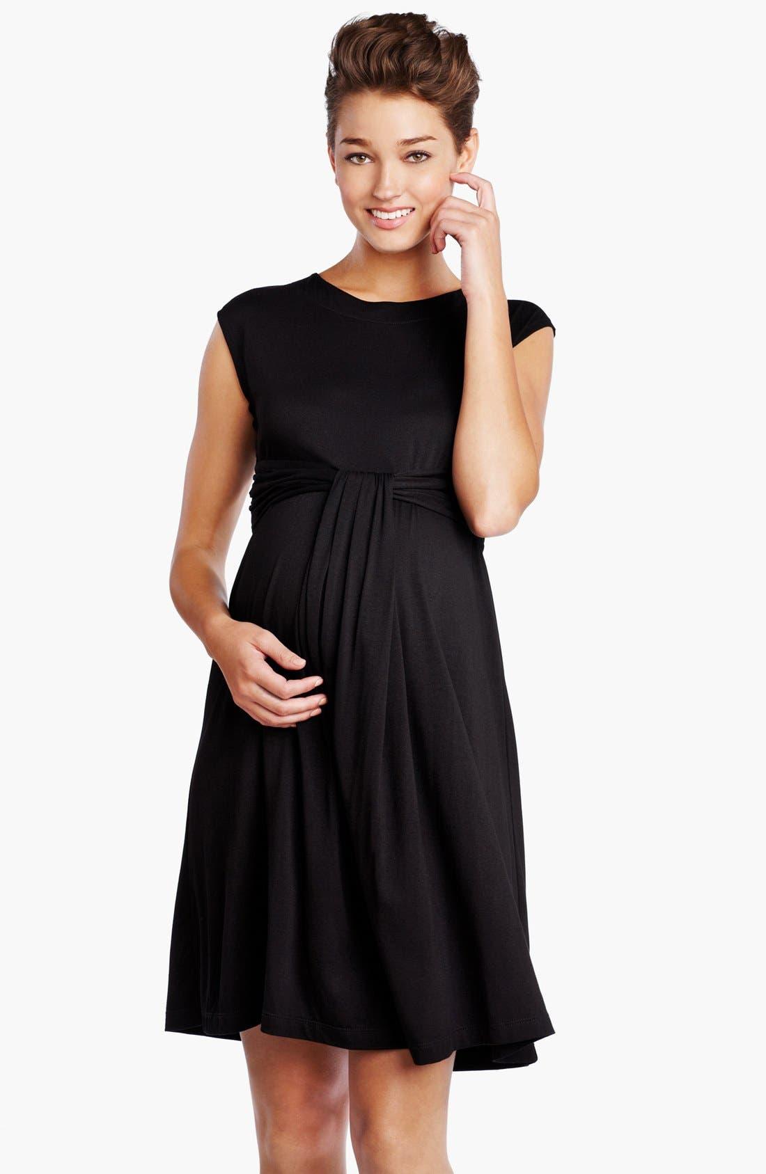 Main Image - Maternal America 'Empire Cascade' Maternity Dress