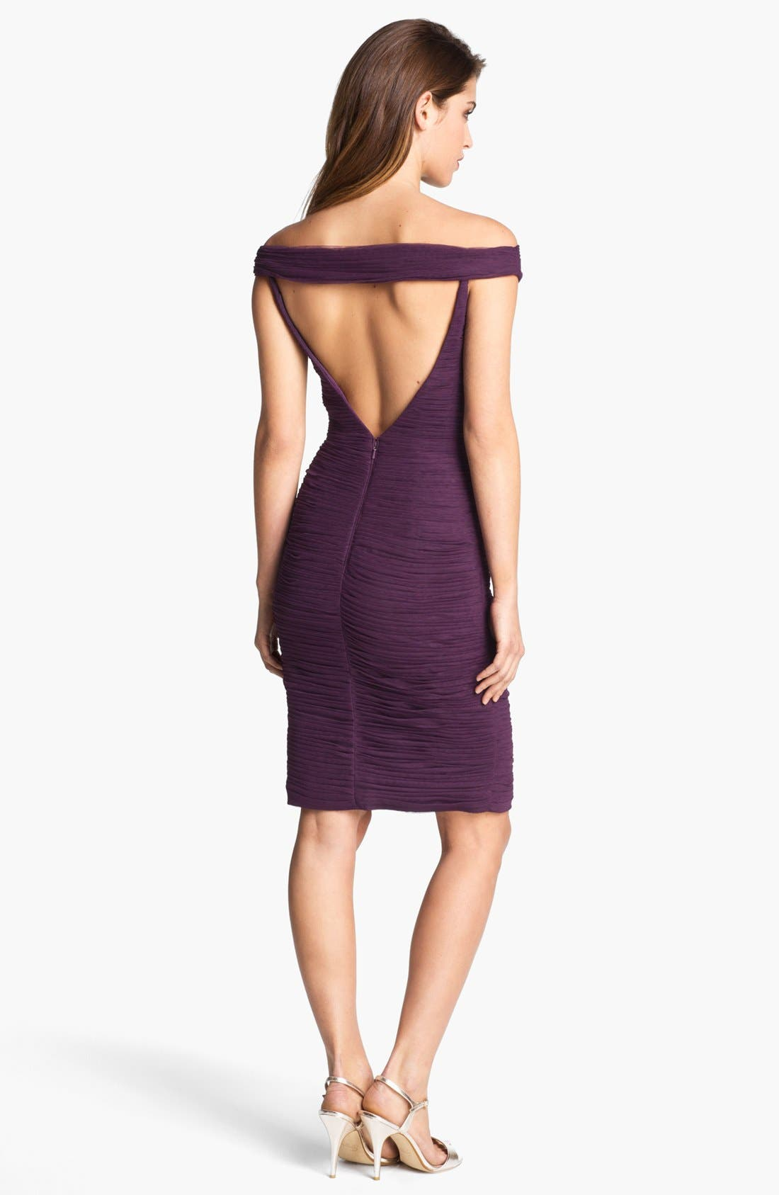 Alternate Image 2  - ML Monique Lhuillier Shirred Off Shoulder Sheath Dress